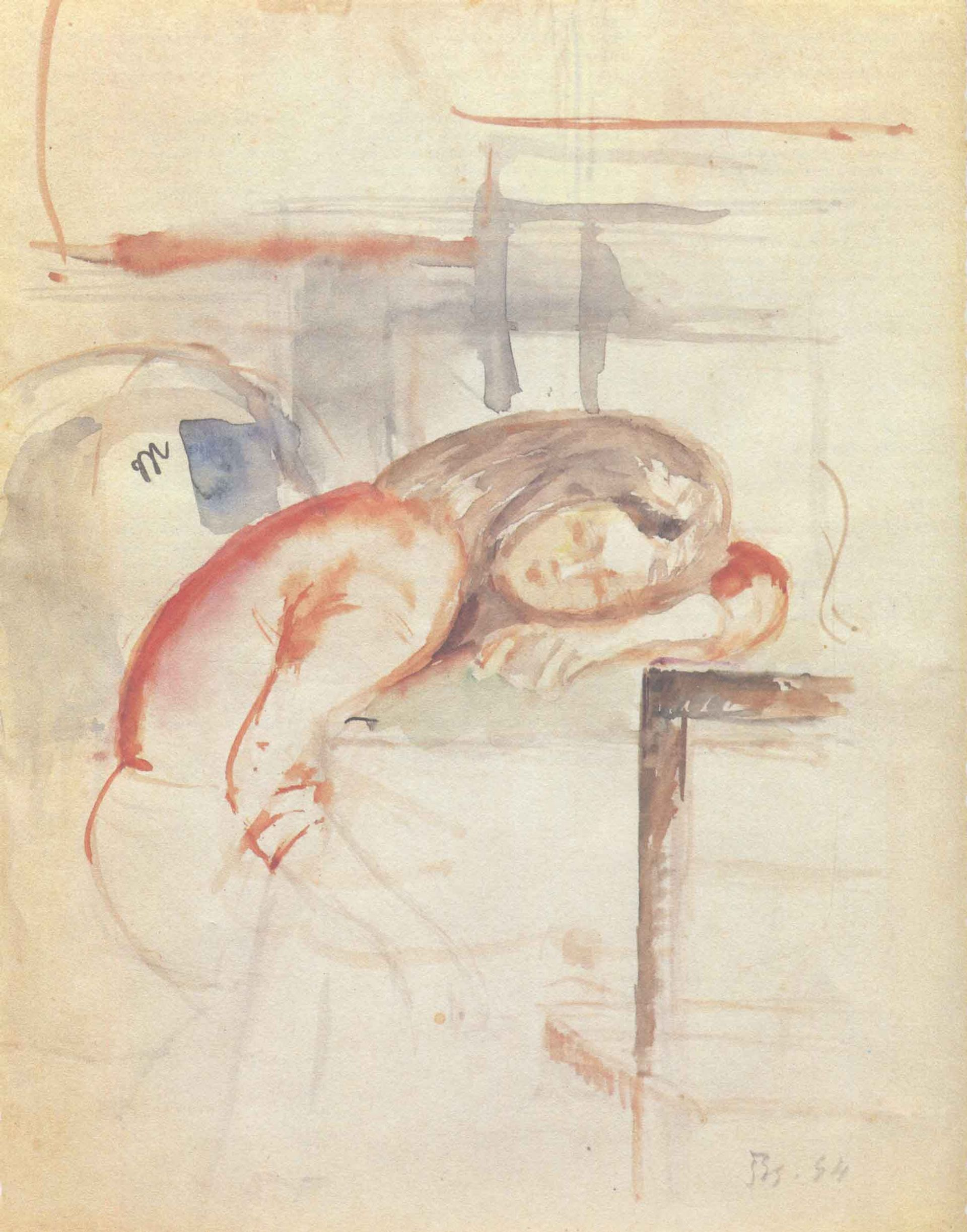 A study for Jeune-fille assoupie by Balthus, included in the Artcurial auction © Artcurial