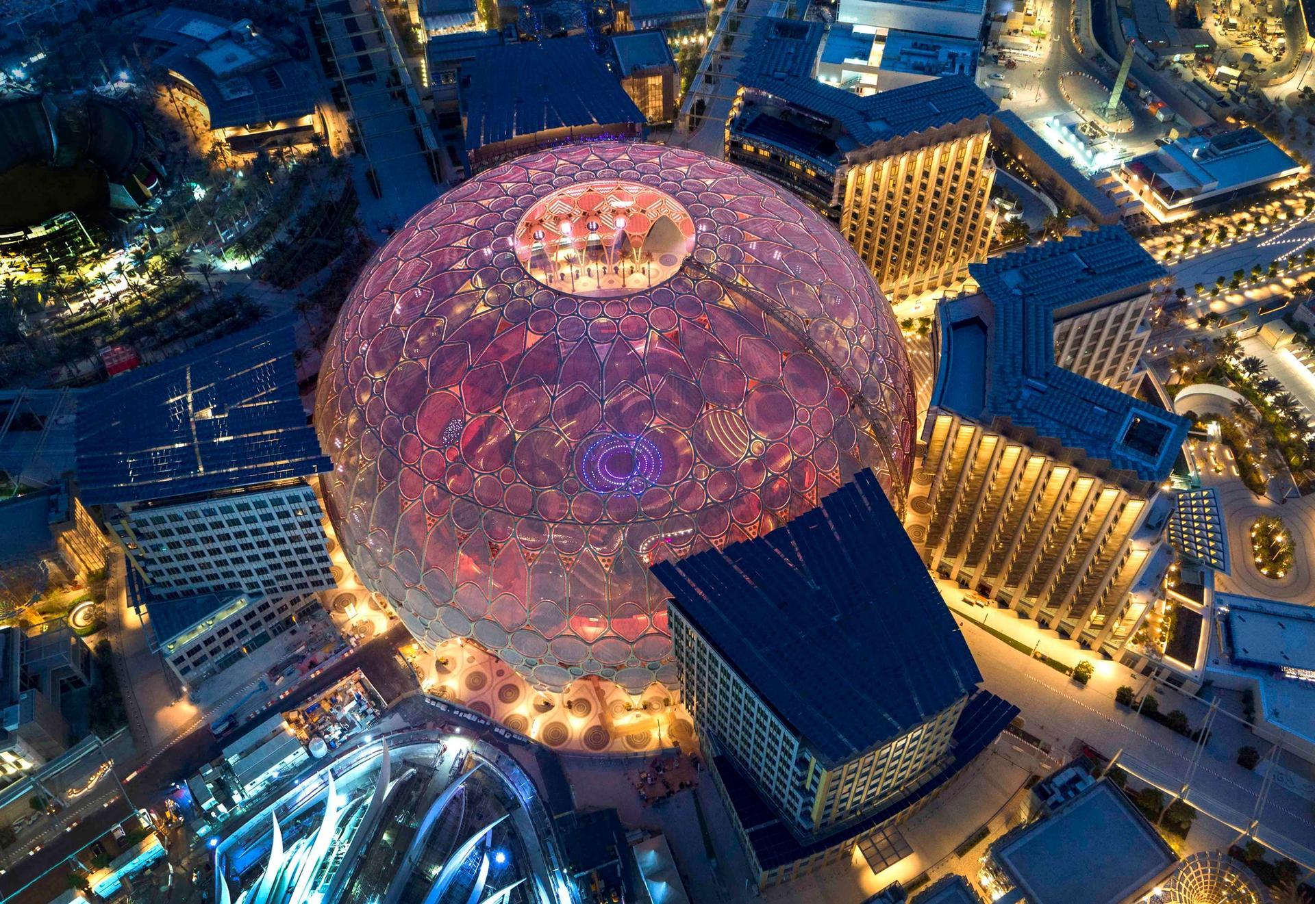 Aerial view of Al Wasl, Expo 2020 Dubai. Photo by Dany Eid/Expo 2020 Dubai