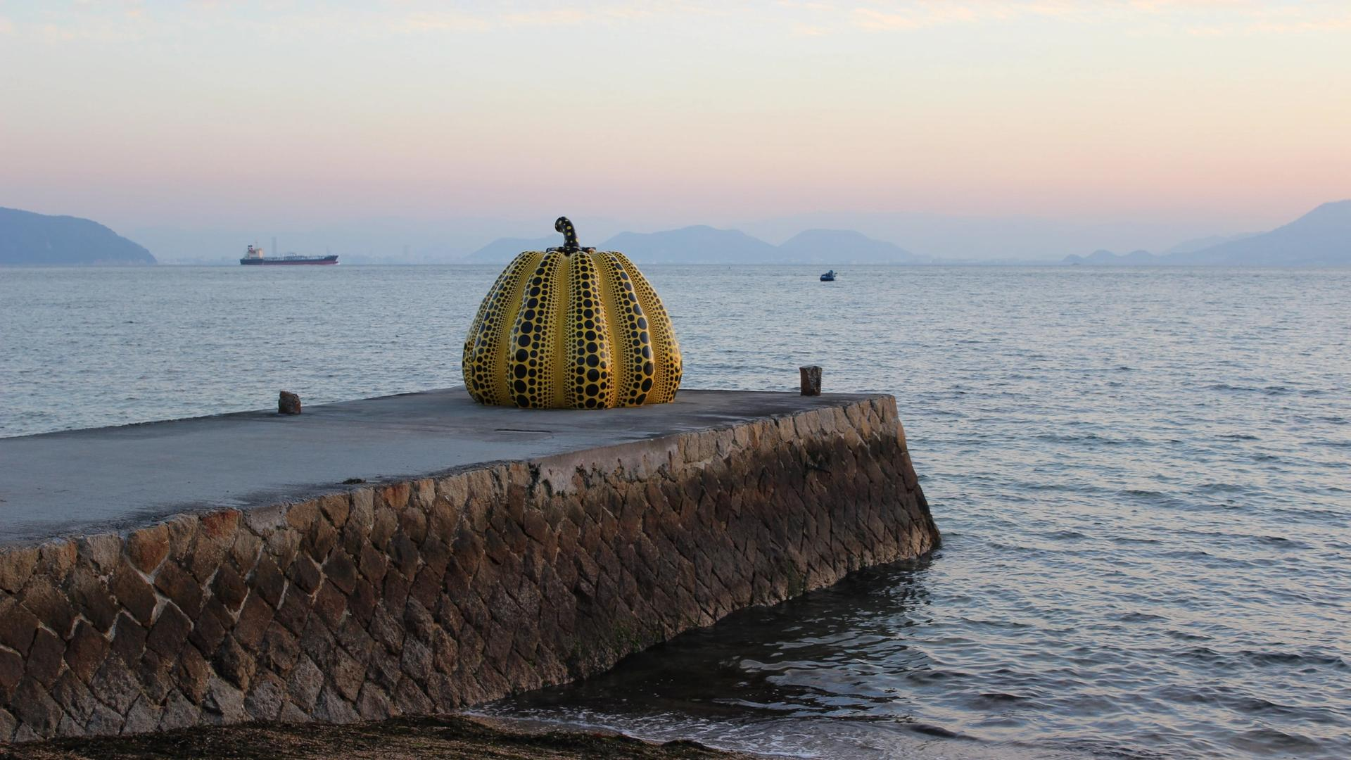 Yayoi Kusama's sculpture, installed in 1994, was one of the largest pumpkins that artist had made up to that point and was also her first to be created with the intention of being exhibited outside
