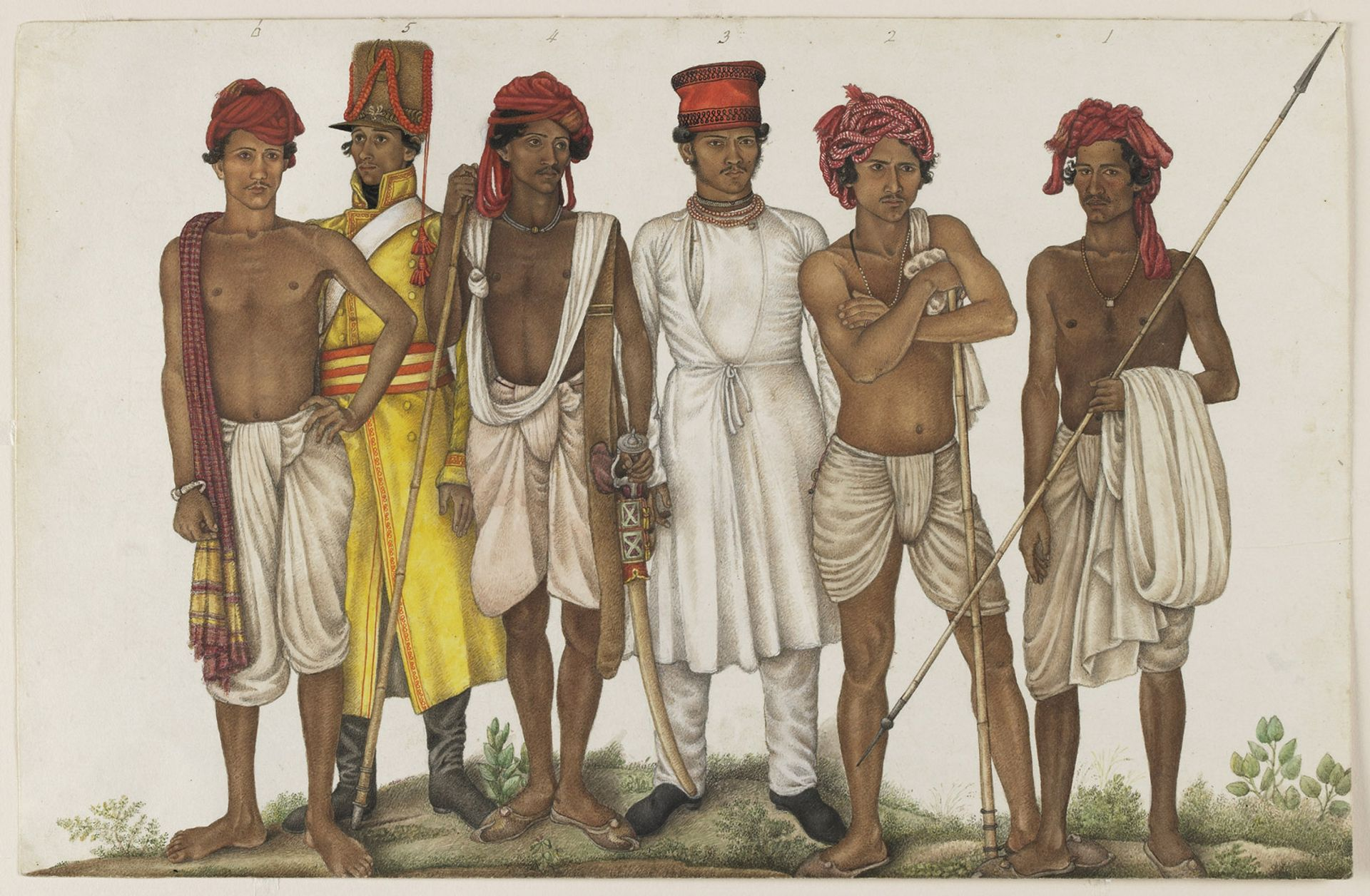 Ghulam Ali Khan's Six Recruits (1815-16) was commissioned by Colonel James Skinner, an East India Company officer © Freer Gallery of Art and Arthur M. Sackler Gallery