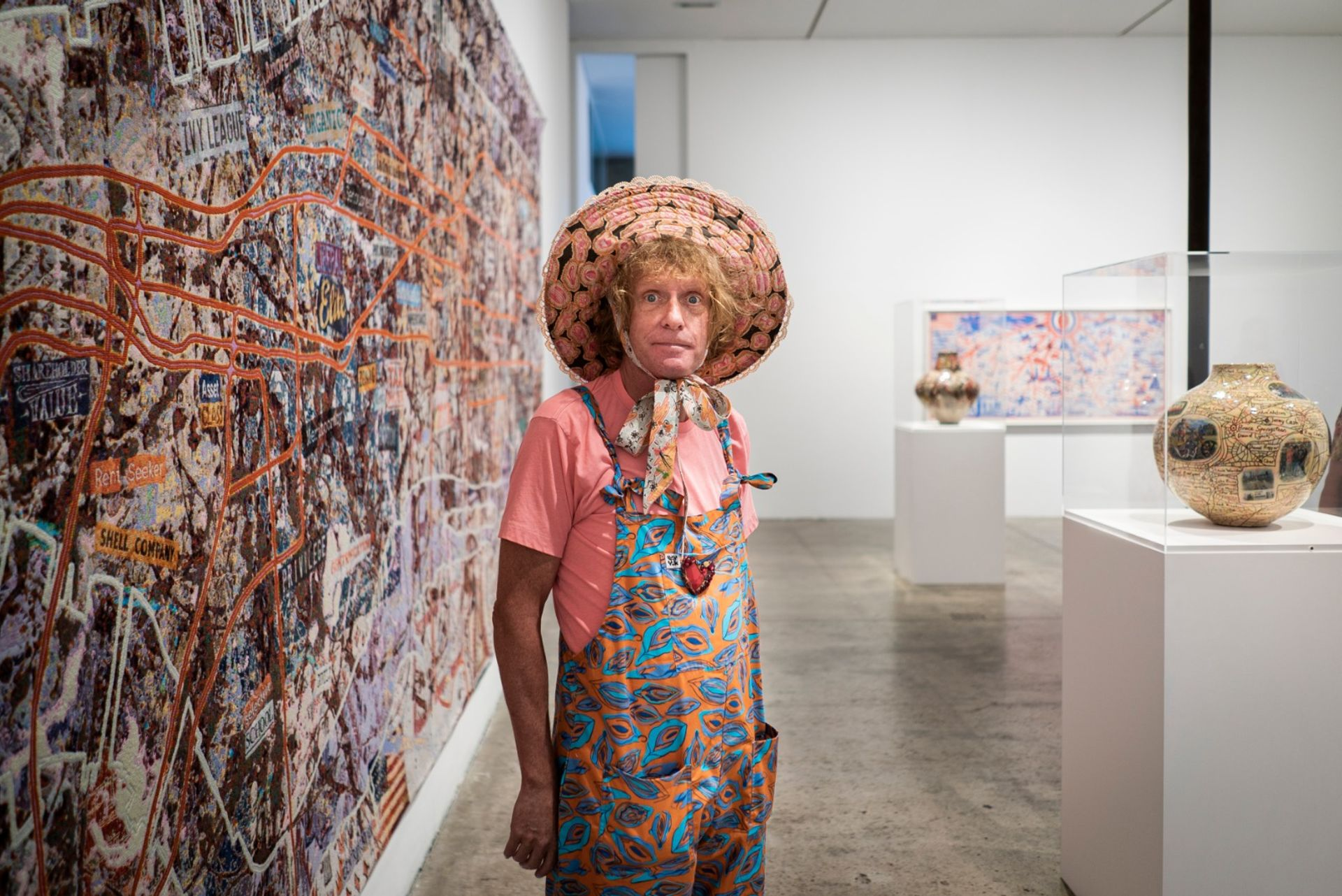 Grayson Perry at his new show with Victoria Miro in London Photo: David Clack