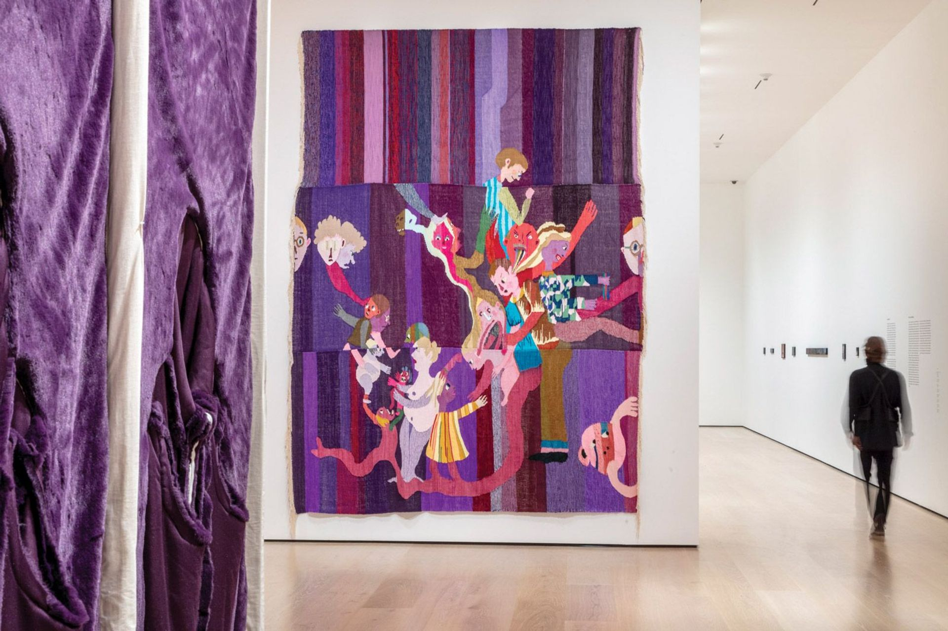 Weaving stories: Christina Forrer's tapestry Gebunden II (2020), at the Hammer Museum, examines family relationships. Left, in the foreground, is part of Nicola L.'s La Chambre en Fourrure, an interactive work that cannot be touched in the Covid-19 era © Joshua White