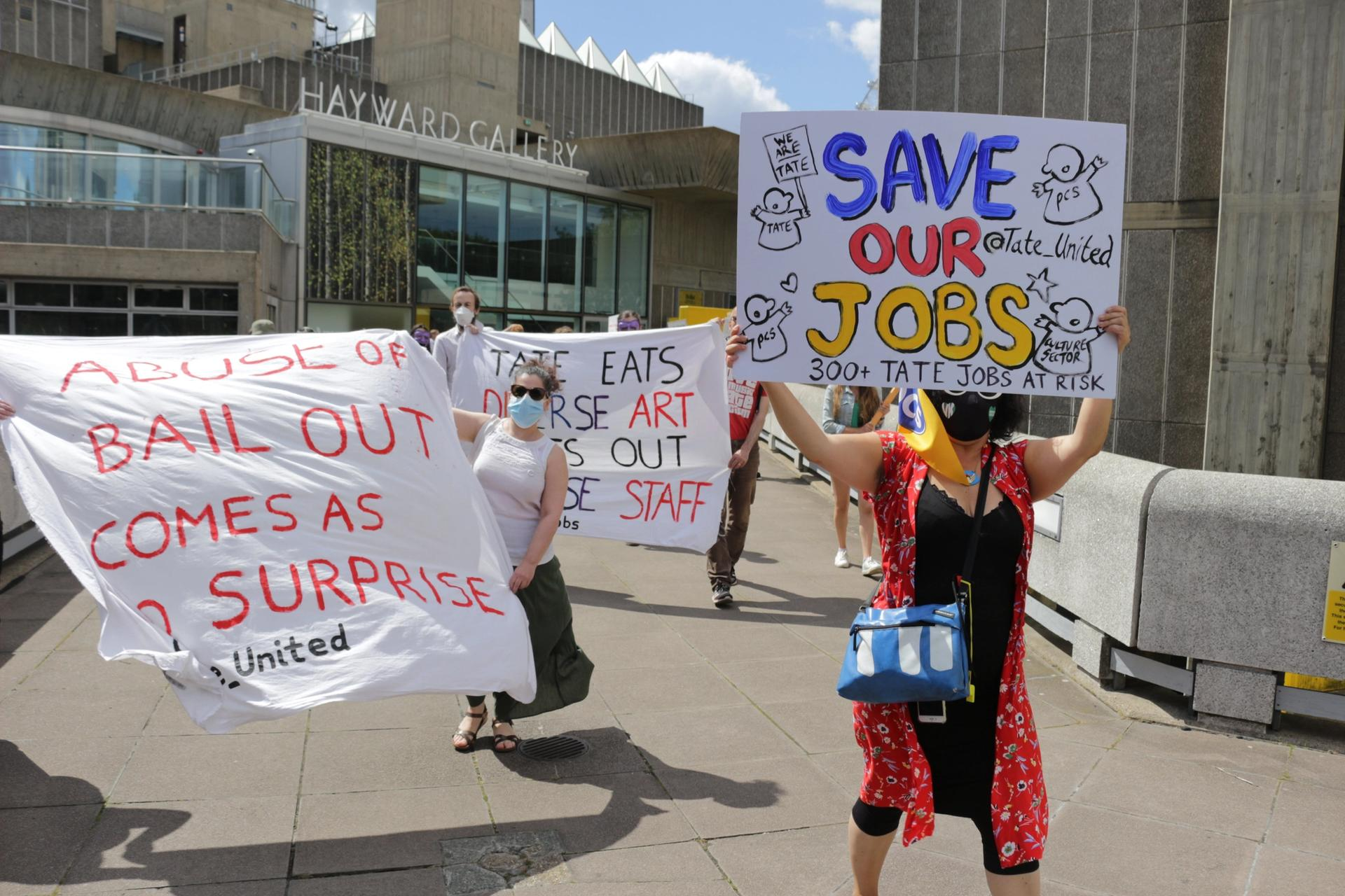 Members from the PCS Union protesting outside the Southbank Centre last week Steve Easton