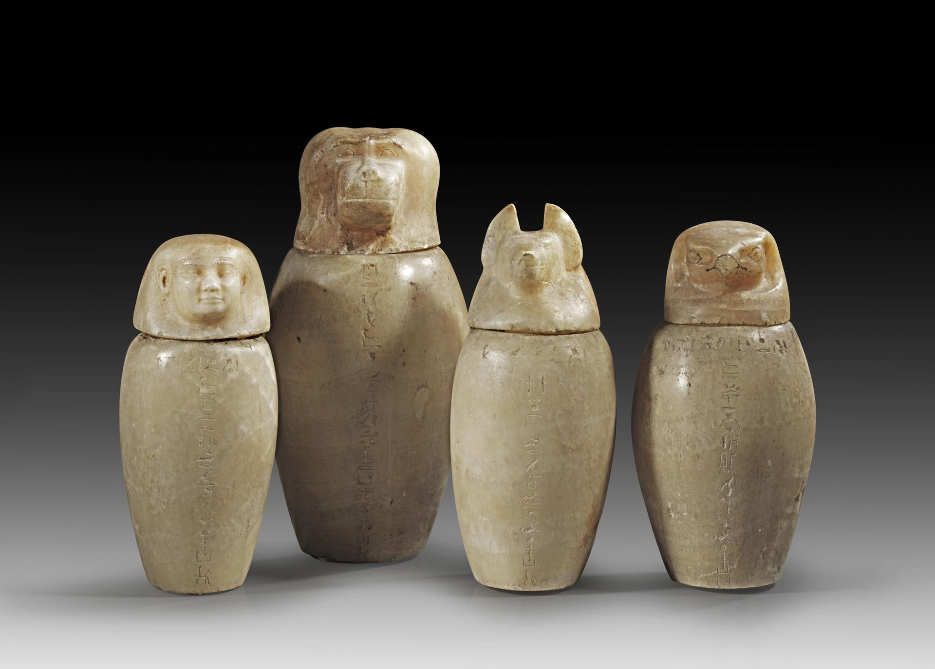 The four Egyptian alabaster jars dating from the 26th dynasty (around BC663-BC525) are on sale at Gorny and Mosch