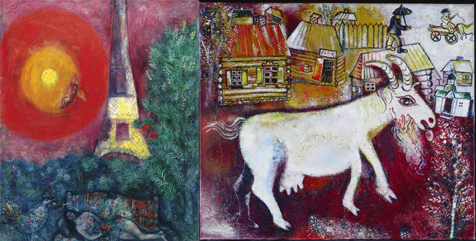 Marc Chagall's Eiffel Tower (1929) will hang next to his Memories of Childhood (1924) in the National Gallery of Canada's European paintings galleries National Gallery of Canada, Ottawa