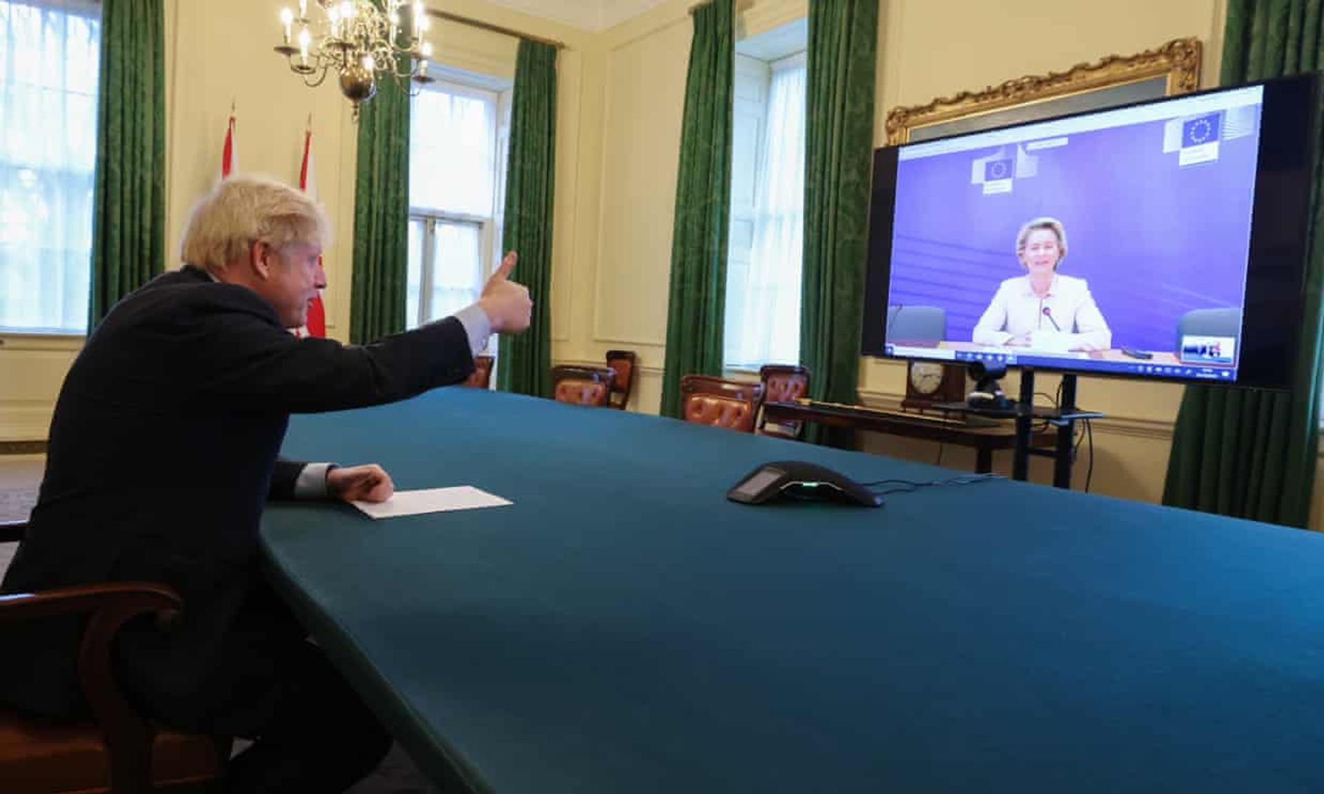 Boris Johnson speaks to Ursula von der Leyen by video link from Downing Street after completing the Brexit deal courtesy No 10 Downing Street