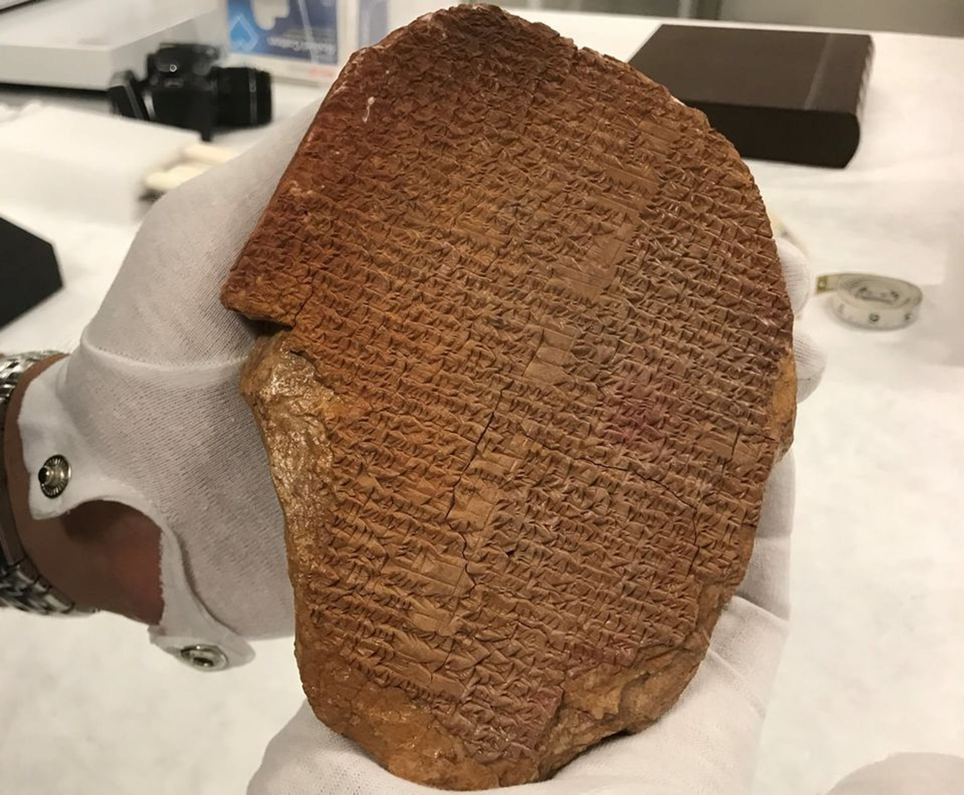 The cuneiform tablet bearing a portion of the epic of Gilgamesh, a Sumerian epic poem Photo: ICE-HSI