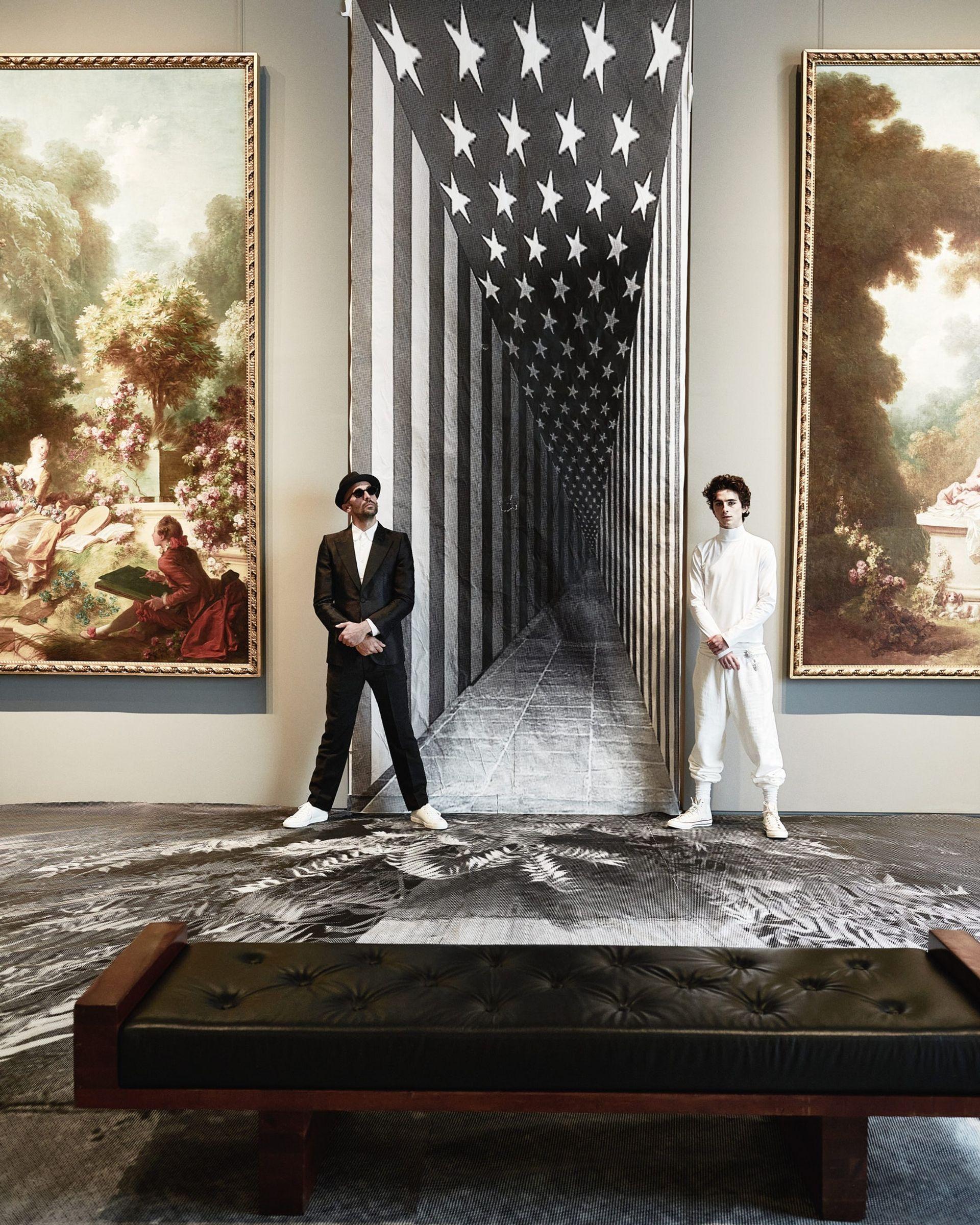 French artist JR and Timothée Chalamet inside the Frick Madison Photo: Julian Ungano