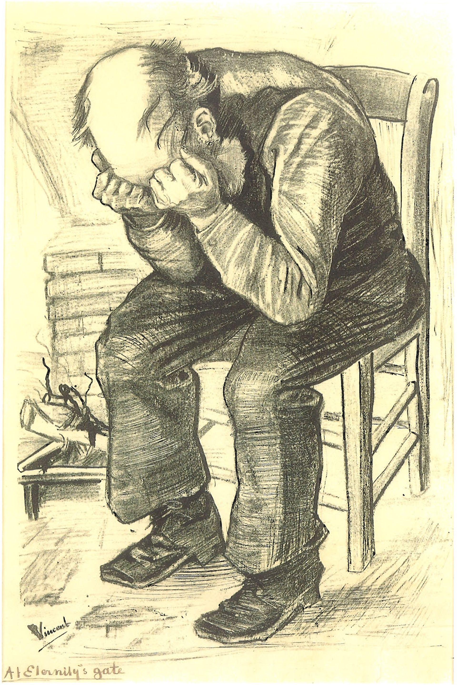 Vincent van Gogh's lithograph At Eternity's Gate (November 1882) Courtesy of Skira, Milan