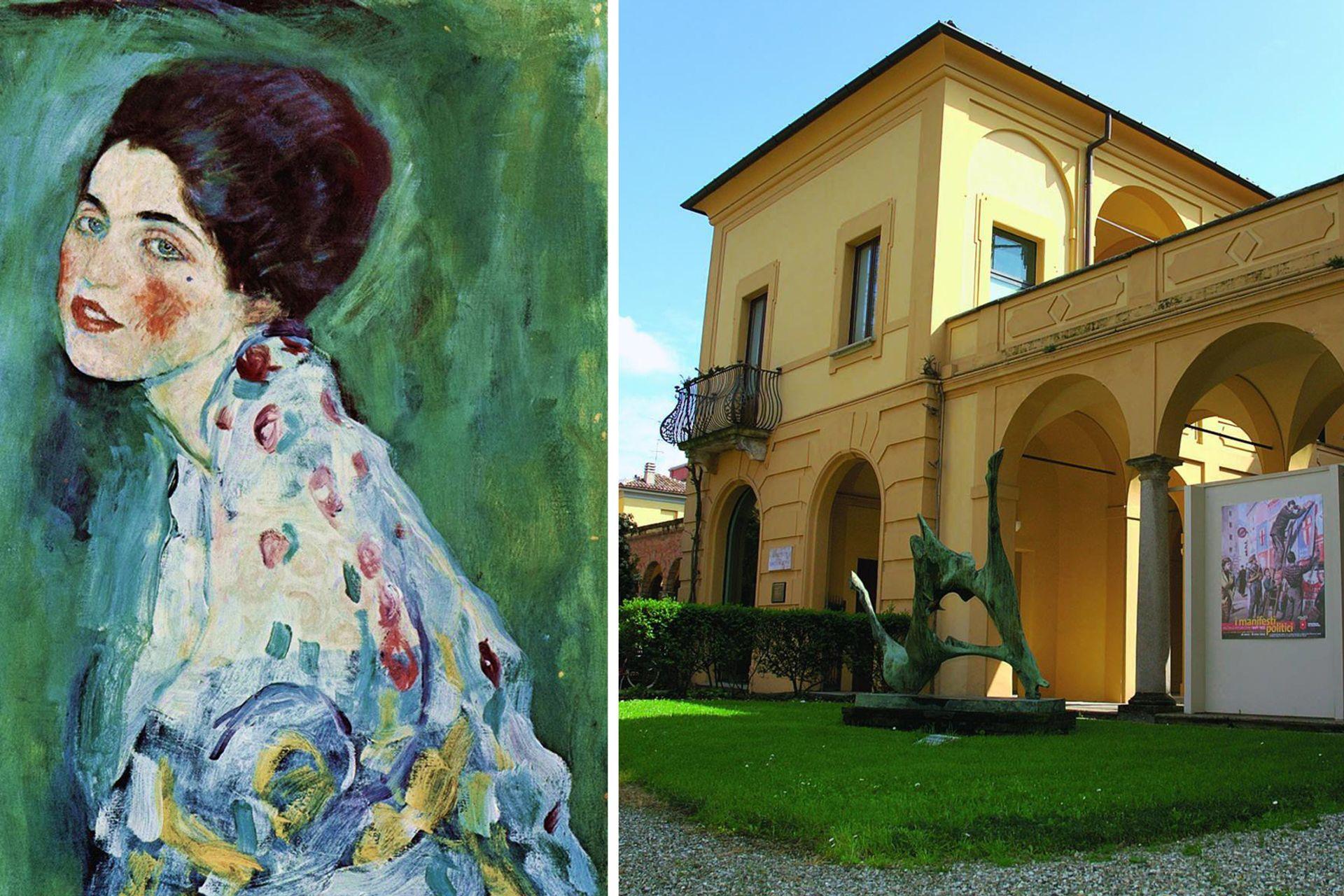 Left, Klimt's Portrait of a Lady (1916-17); and right, the Ricci Oddi gallery in Piacenza Photos: © Ricci Oddi gallery/Facebook