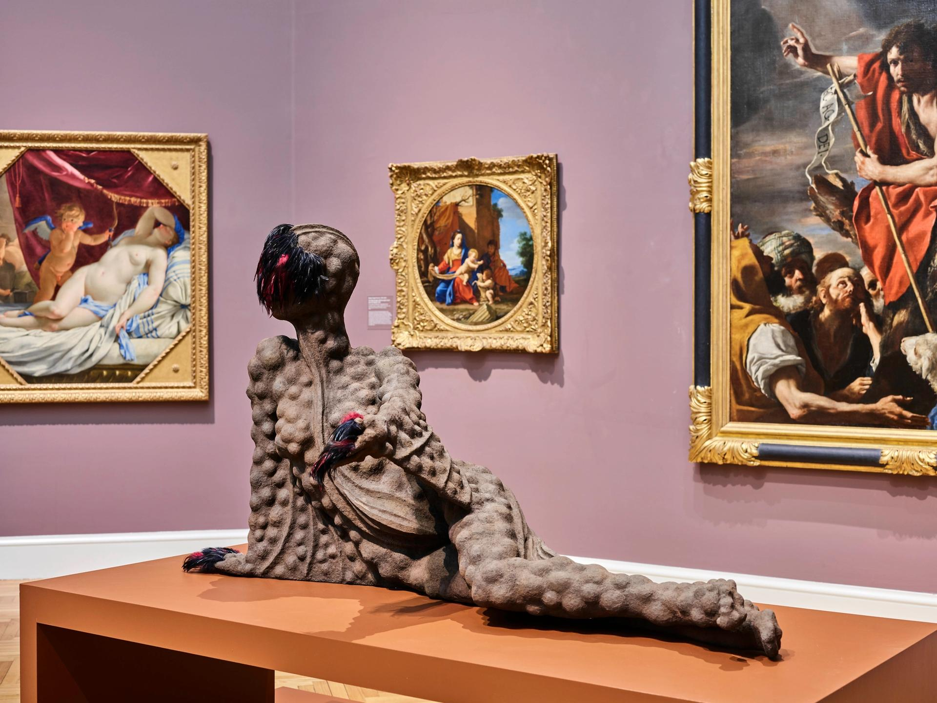 Wangechi Mutu's Outstretched (2019)installed in the European galleries of the Legion of Honor, San Francisco Photograph by Randy Dodson, courtesy of the Fine Arts Museums of San Francisco. © Wangechi Mutu. All rights reserved. Courtesy the Artist and Gladstone Gallery, New York and Brussels