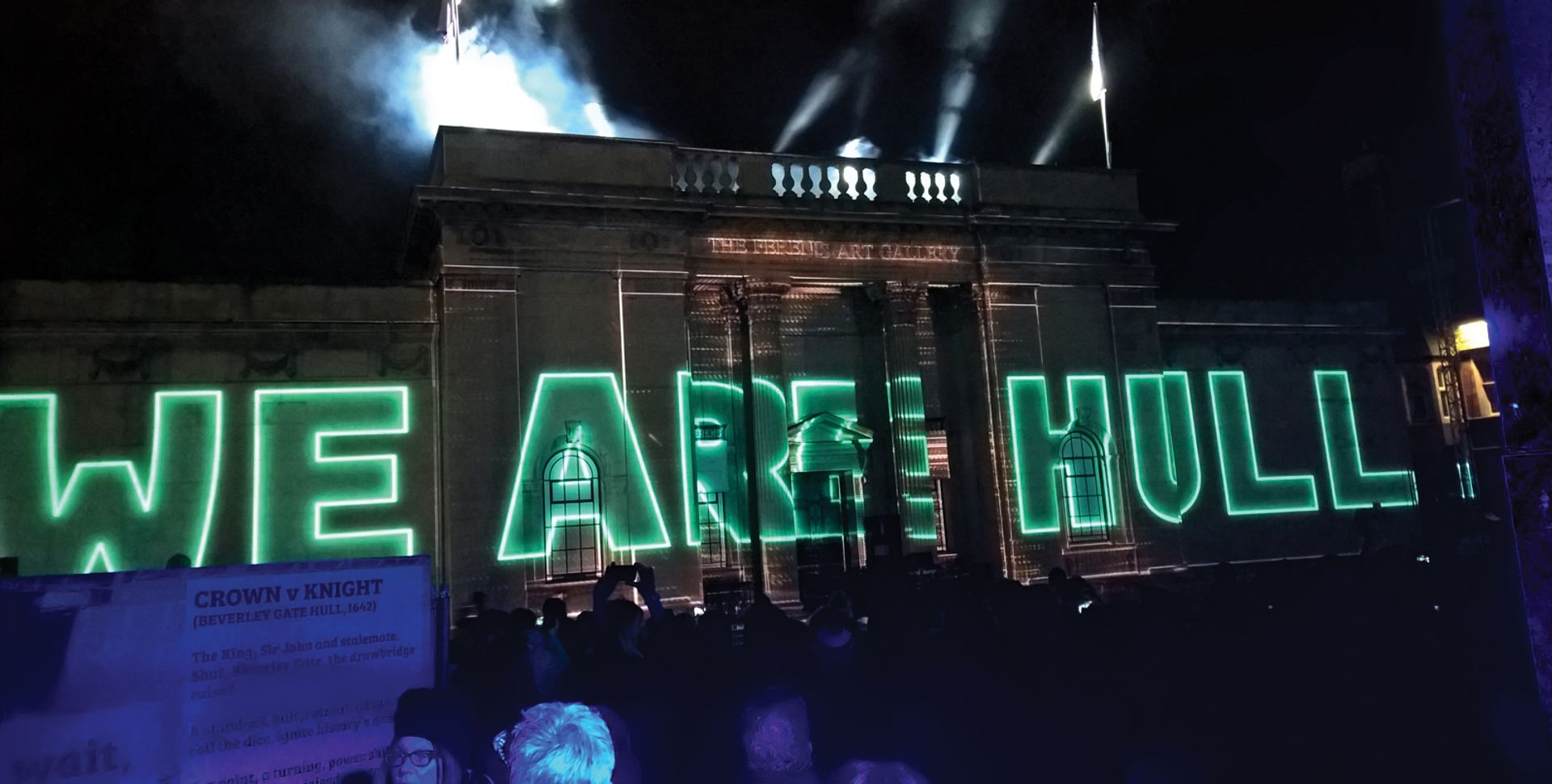 Zolst Balogh's installation We Are Hull was projected on to Ferens Art Gallery as part of the 2017 City of Culture year Chris Morgan
