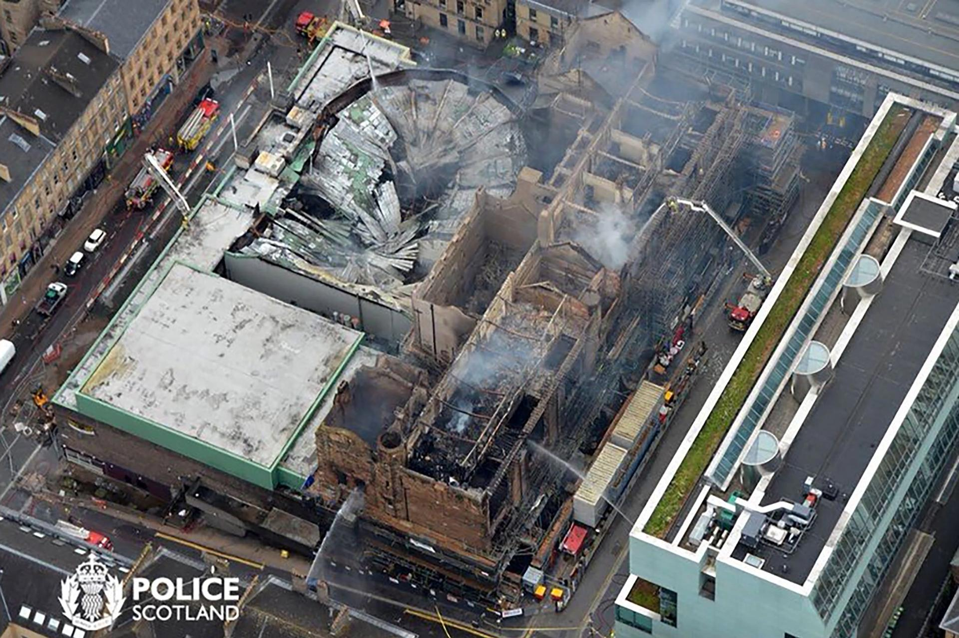An aerial view of Glasgow School of Art on 16 June after fire ravaged the building AFP PHOTO / POLICE SCOTLAND