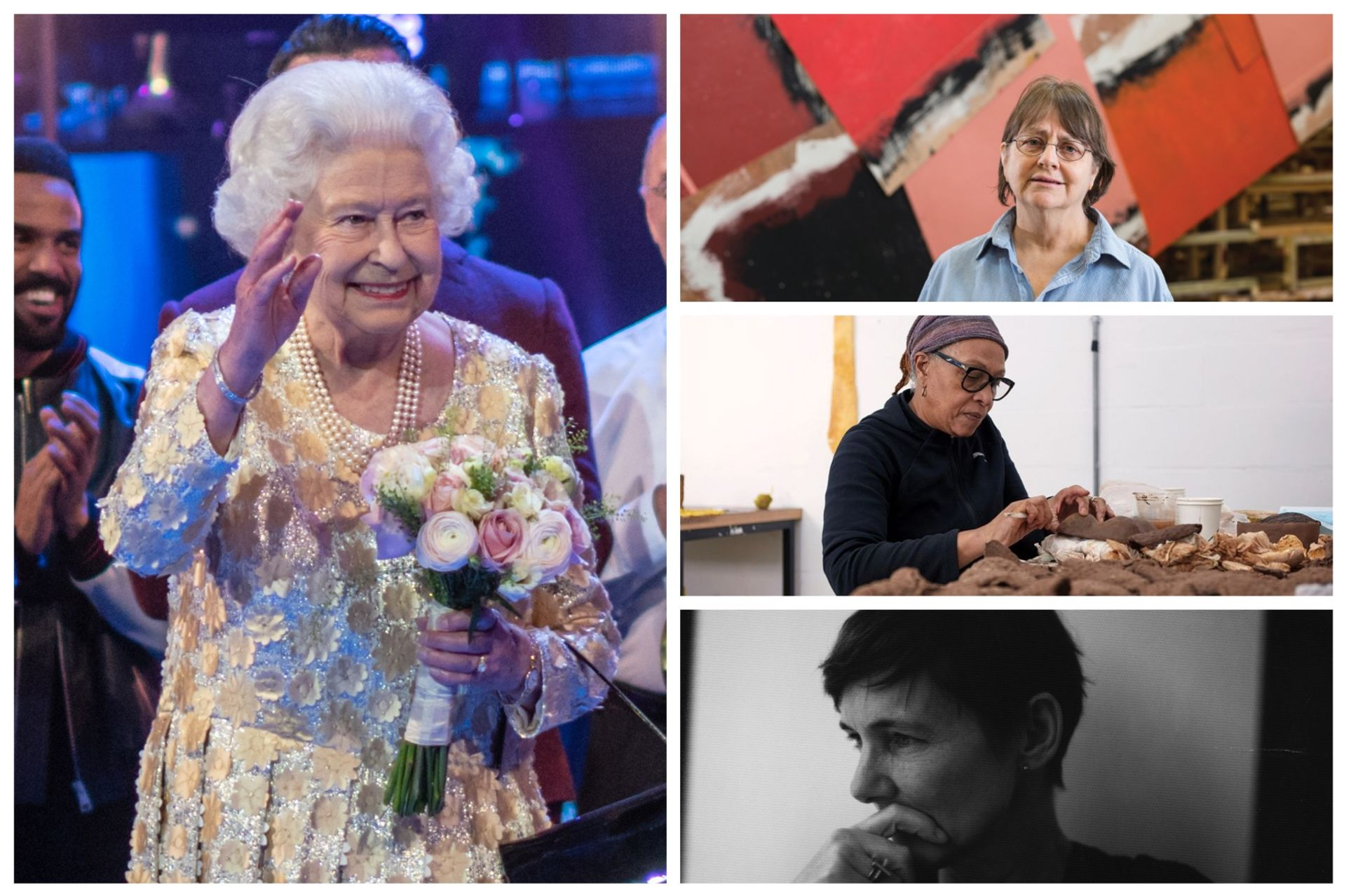 Several people from the art world were given awards as part of the Queen's birthday honours, including Phyllida Barlow (top), Veronica Ryan (middle) and Sadie Coles (bottom) Queen: Ralph_PH; Barlow: David Levene; Ryan: Max McClure; Coles: Sadie Coles, courtesy Sadie Coles HQ