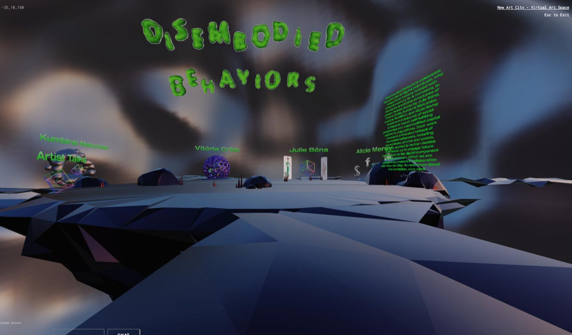 Disembodied Behaviors is a virtual exhibition presented on New Art City by bitforms gallery, curated by Zaiba Jabbar and Valerie Amend