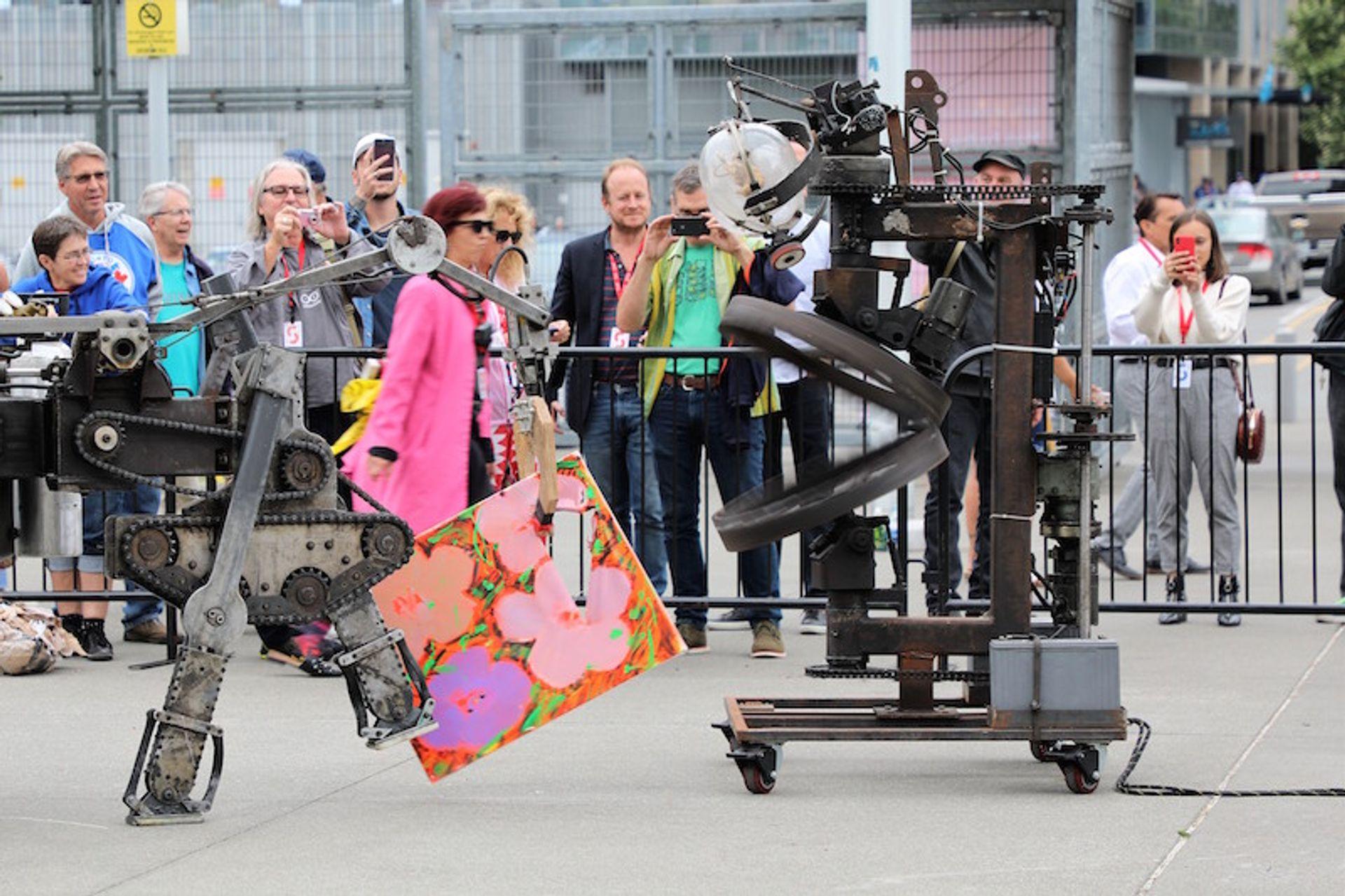 Mark Pauline's robots trashing an Andy Warhol replica at the Seattle Art Fair Courtesy of the Seattle Art Fair