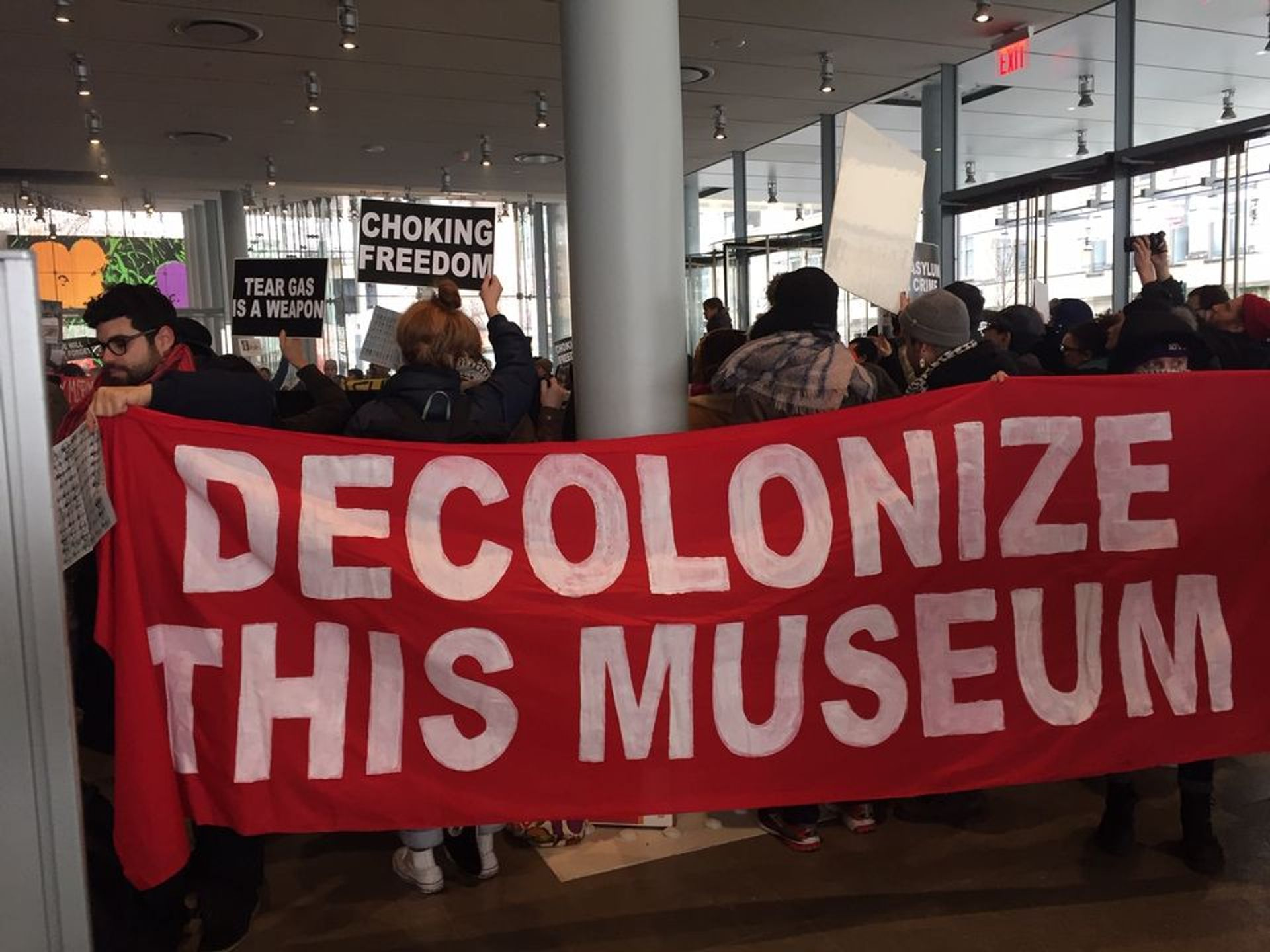 A protest at the Whitney Museum of American Art in December