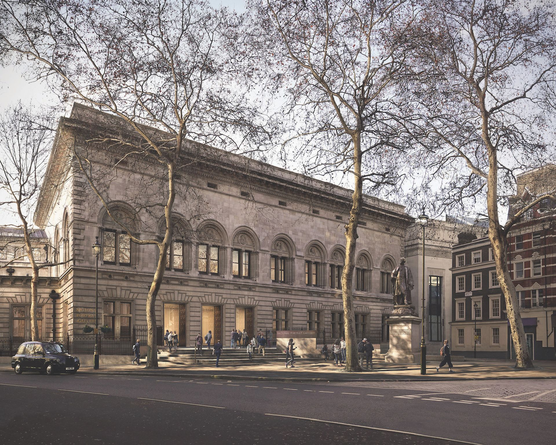 A rendering of the new north-facing entrance of the National Portrait Gallery, designed by Jamie Fobert Architects Jamie Fobert Architects/Forbes Massie