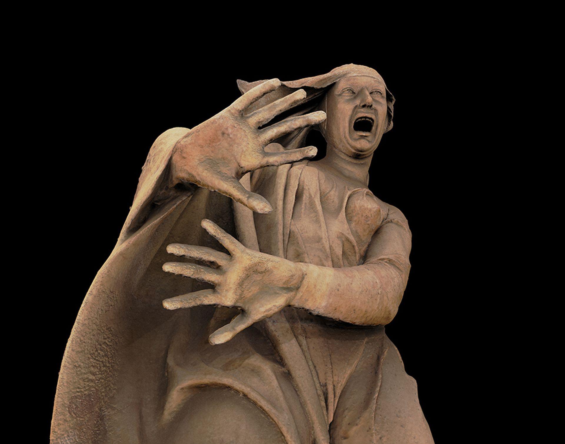 3D colour renders of a figure from the Compianto, the group lamenting over the dead Christ in Santa Maria della Vita, Bologna Courtesy of Genus Bononiae / Factum Foundation