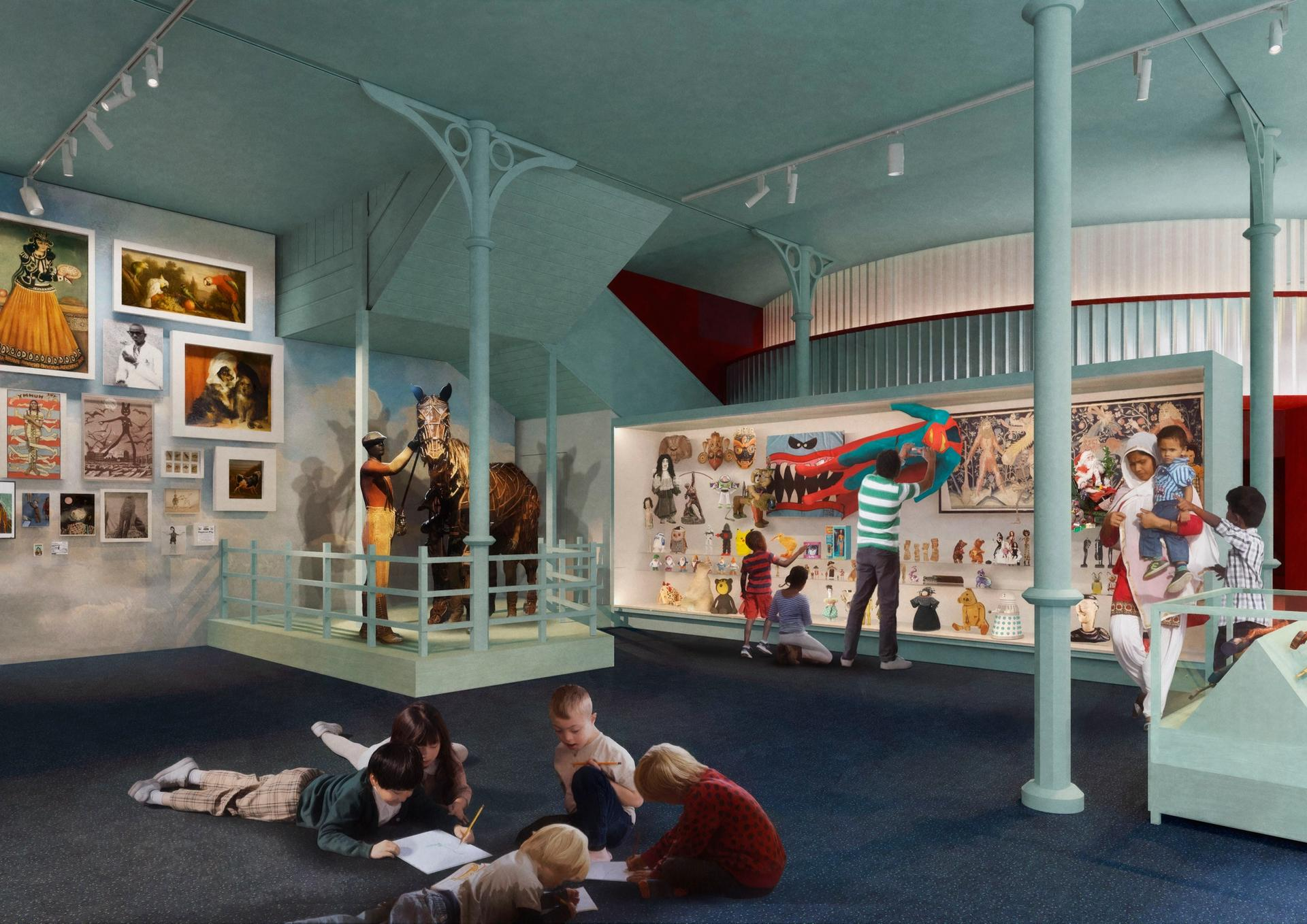 A rendering of the Adventure display in the Imagine Gallery of the renamed Young V&A. Image: Picture Plane © Victoria and Albert Museum, London