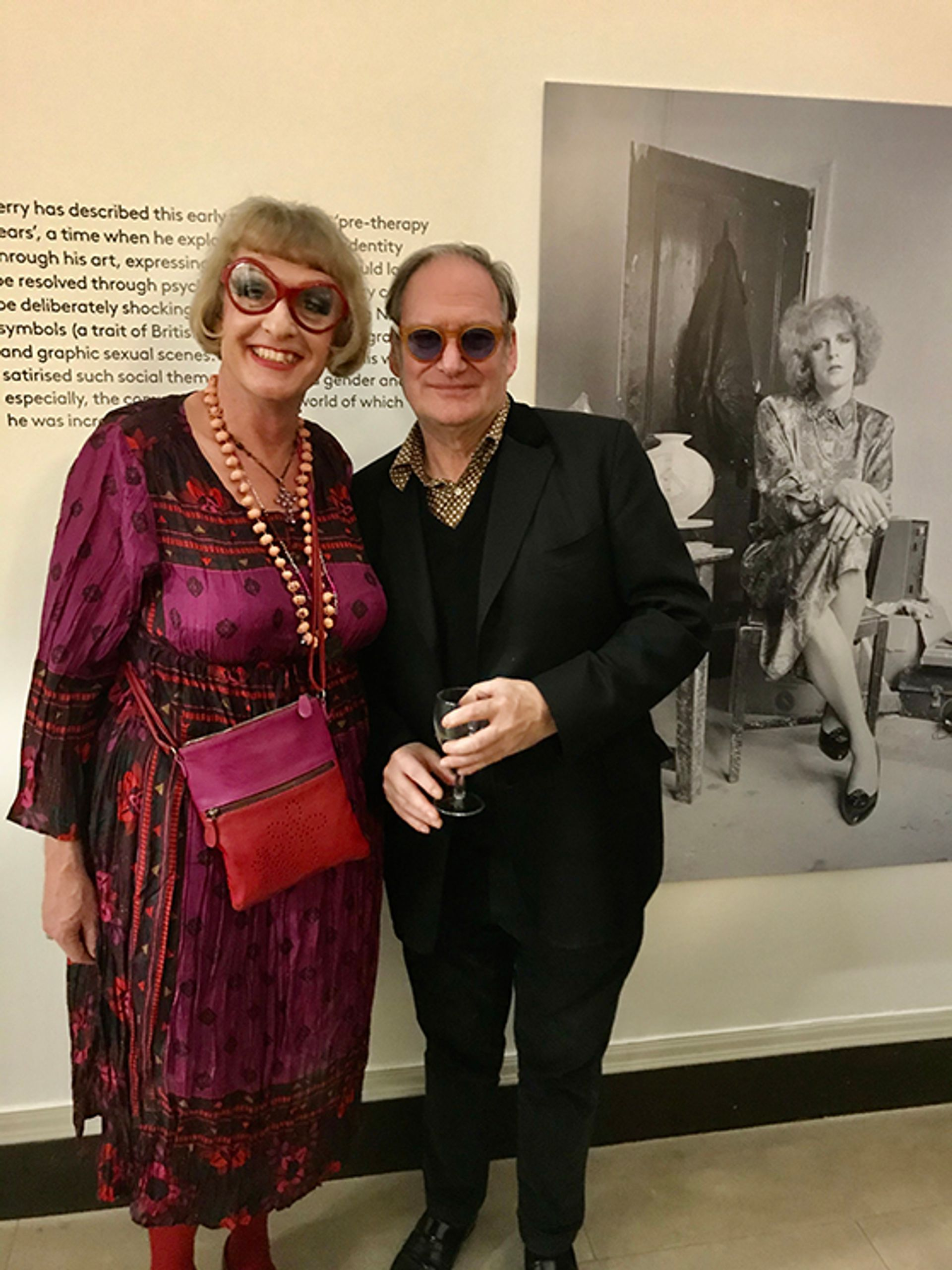 Grayson Perry and James Birch at the opening of Perry's Holburne Museum show Courtesy of Louisa Buck