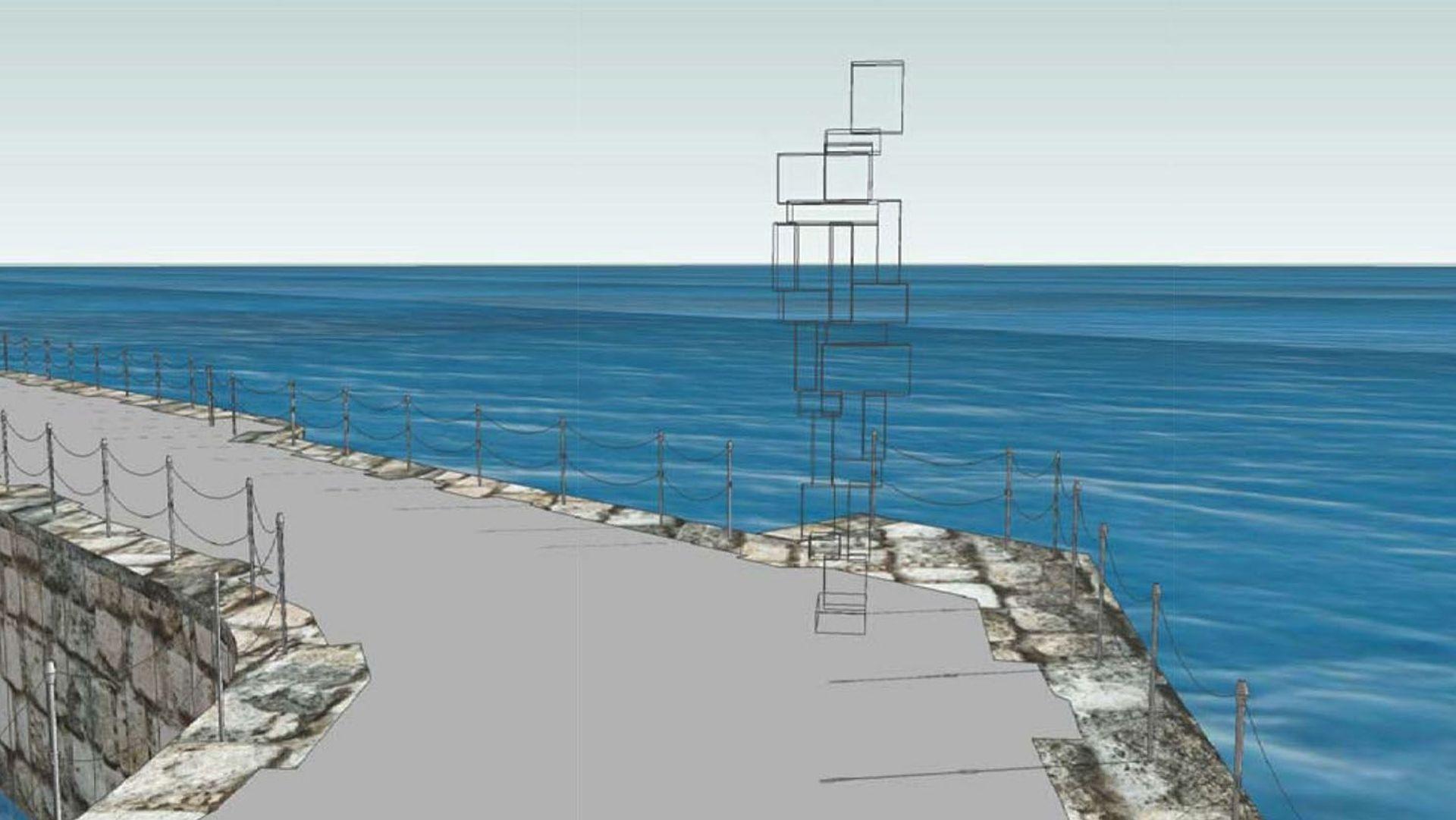 A digital rendering of Antony Gormley's Look II Courtesy of The Box, Plymouth