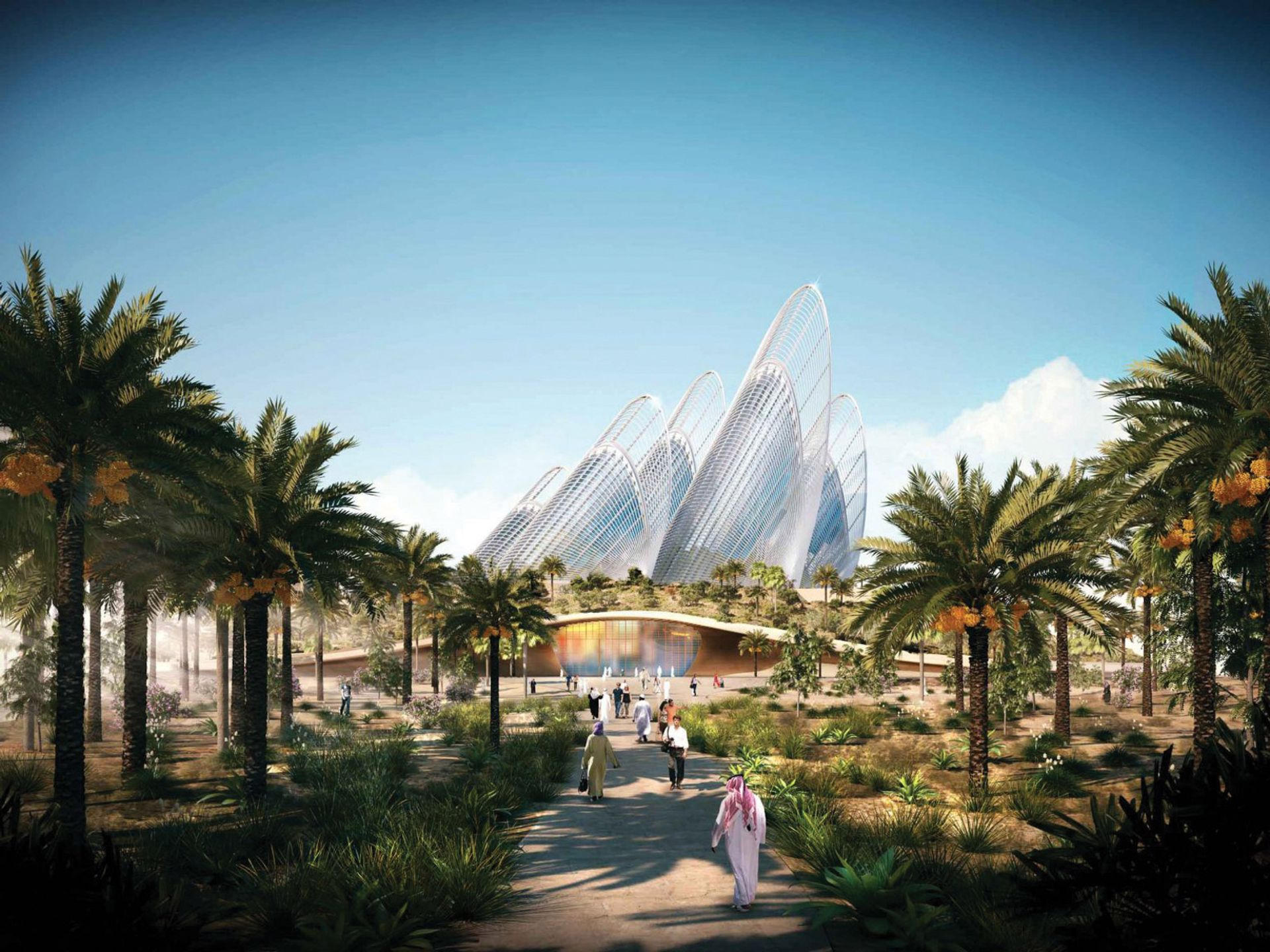 A rendering of the Zayed National Museum, by Foster + Partners. The soaring glass structures were inspired by a falcon's wing feathers ©  Foster + Partners