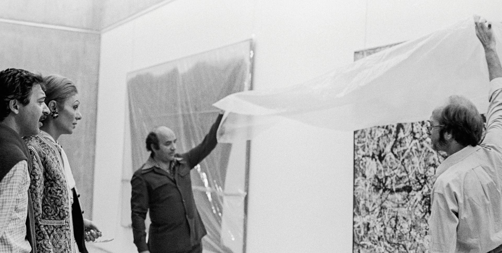 Installation of a work by Pollock in Tehran, 1977 Photo: Jila Dejam