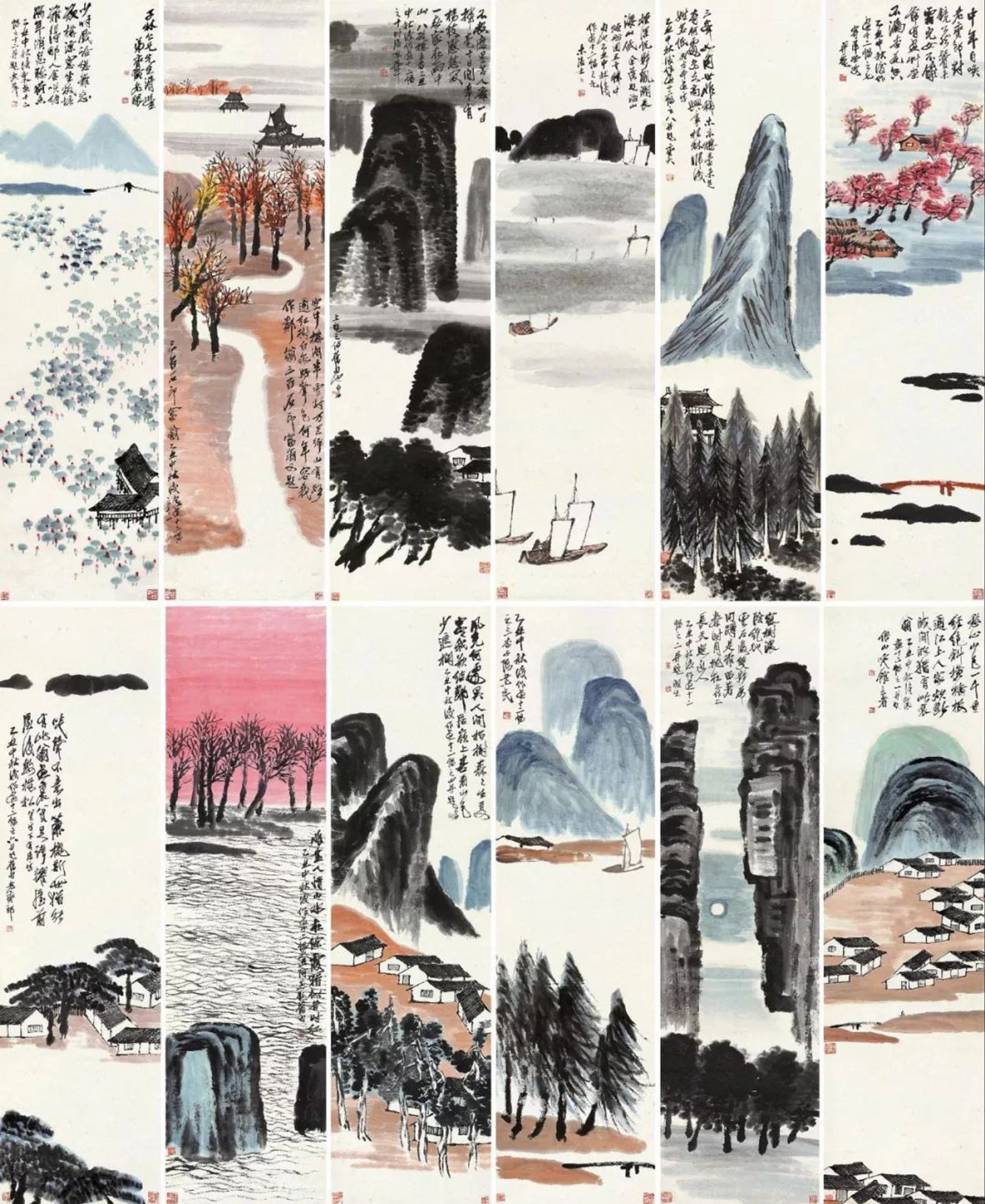 Set of 12 ink-brush paintings by Qi Baishi sold at Poly Auction Beijing for a record RMB931.5m ($141m) Poly Auction Beijing