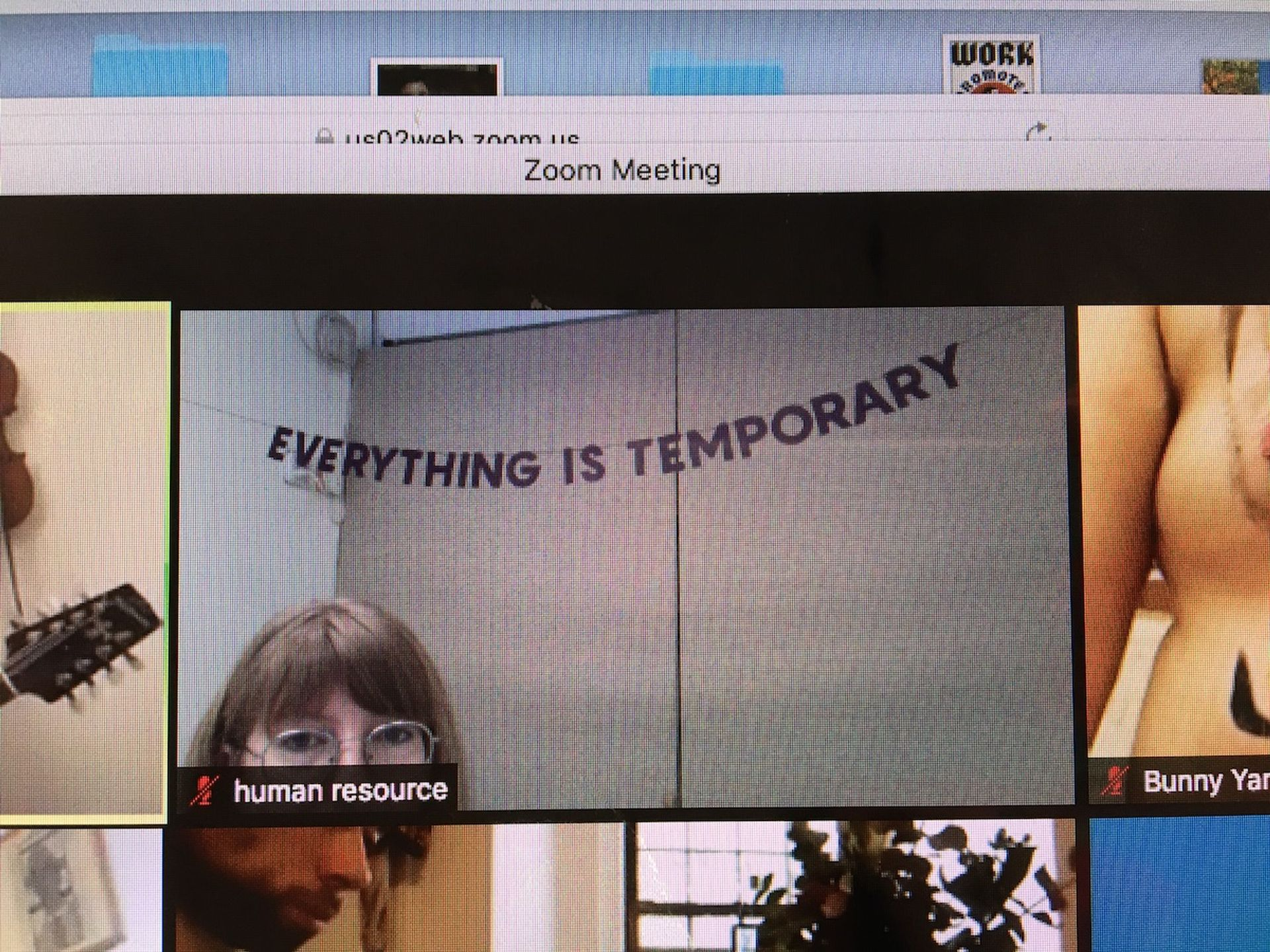A screenshot of the eight-hour work day Cayla Lockwood organised for the Created Jobs project at Flux Factory Courtesy of the artist