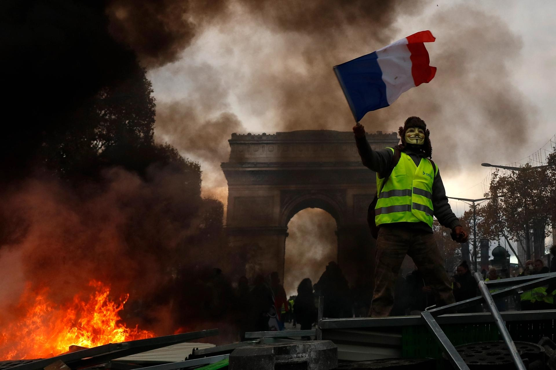 The Arc de Triomphe on the Champs-Elysées was graffitied by rioters in Paris Photo by Mehdi Taamallah/NurPhoto via Getty Images