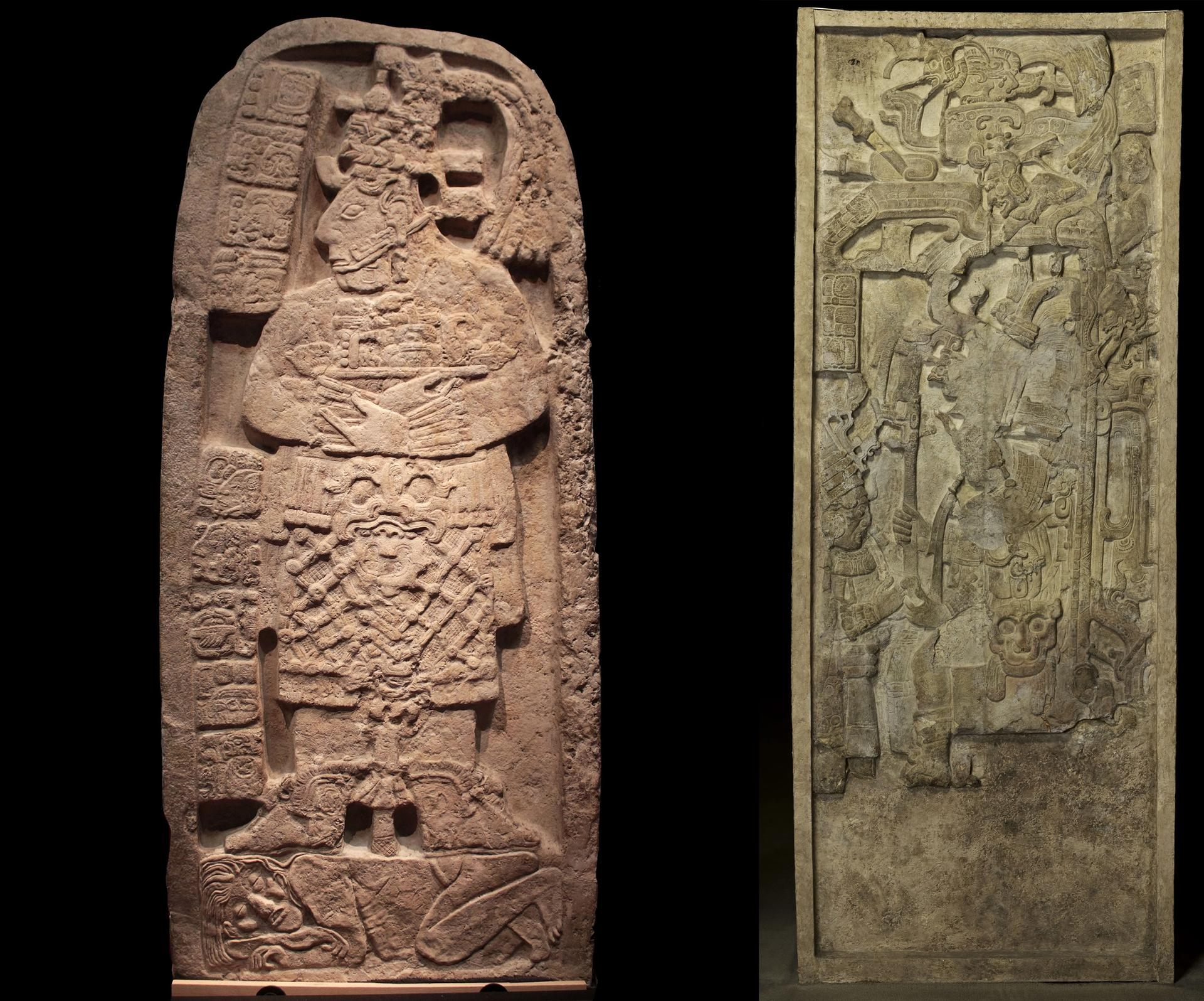 From left: Portrait of a queen regent trampling a captive (Stela 24) from Naranjo-Sa'al, Petén, and Portrait of a seated ruler receiving a noble (Stela 5) from Yok'ib, Piedras Negras, Guatemala Courtesy Ministry of Culture and Sports of Guatemala. ©  Archivo Digital MUNAE