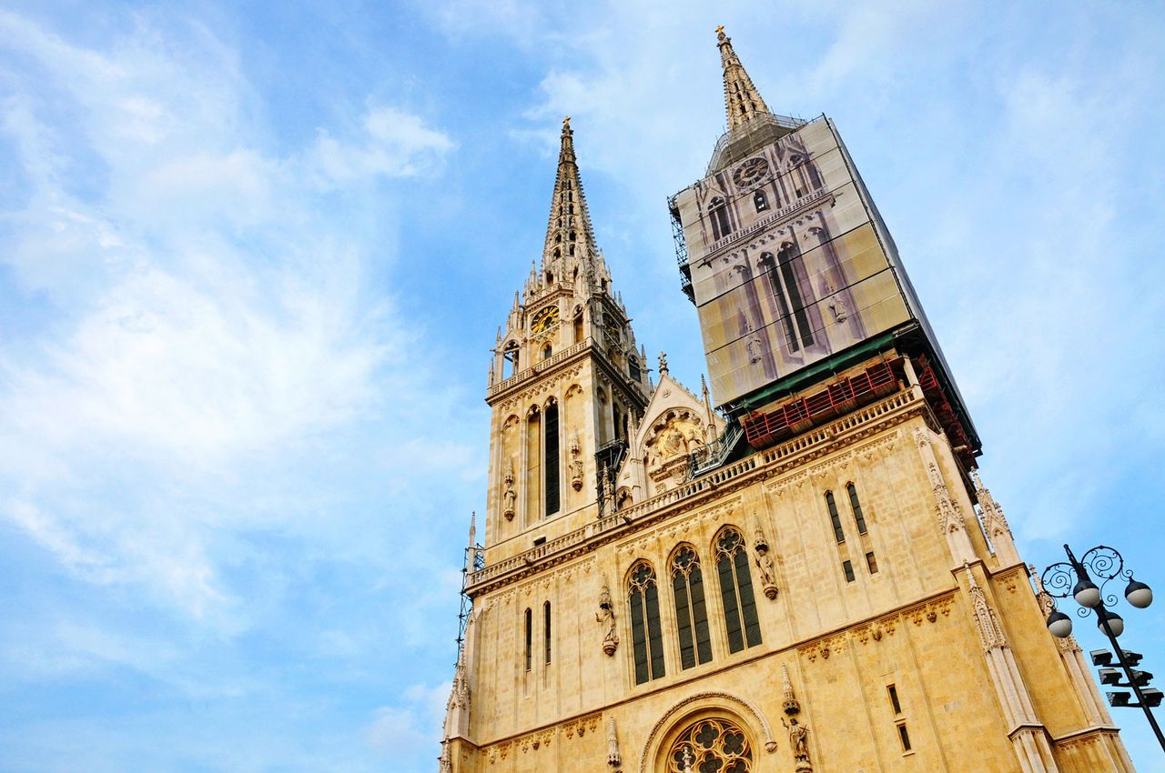 One of the 108m-tall spires of Zagreb cathedral tumbled during the tremor