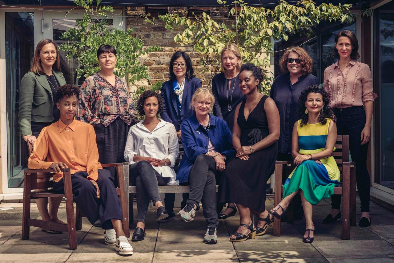 The Social Work selection panel. Standing from left to right: Jo Stella-Sawicka, Jennifer Higgie, Lydia Yee, Iwona Blazwick and Sally Tallant, with Victoria Siddall, the director of Frieze. Seated, left to right: Melanie Keen, Amira Gad, Louisa Buck, Zoe Whitley and Fatos Ustek. Tom Jamieson