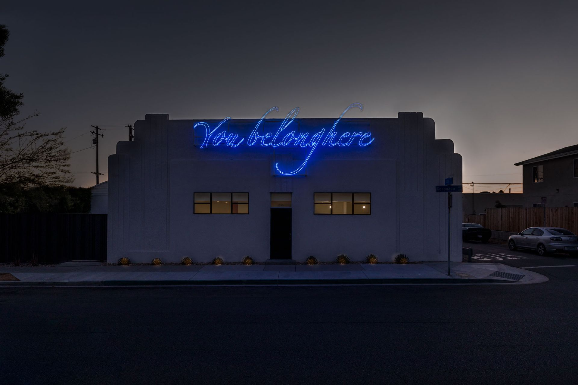 Tavares Strachan's neon artwork You Belong Here on the front of Compound building in Long Beach Photo: Laure Joilet