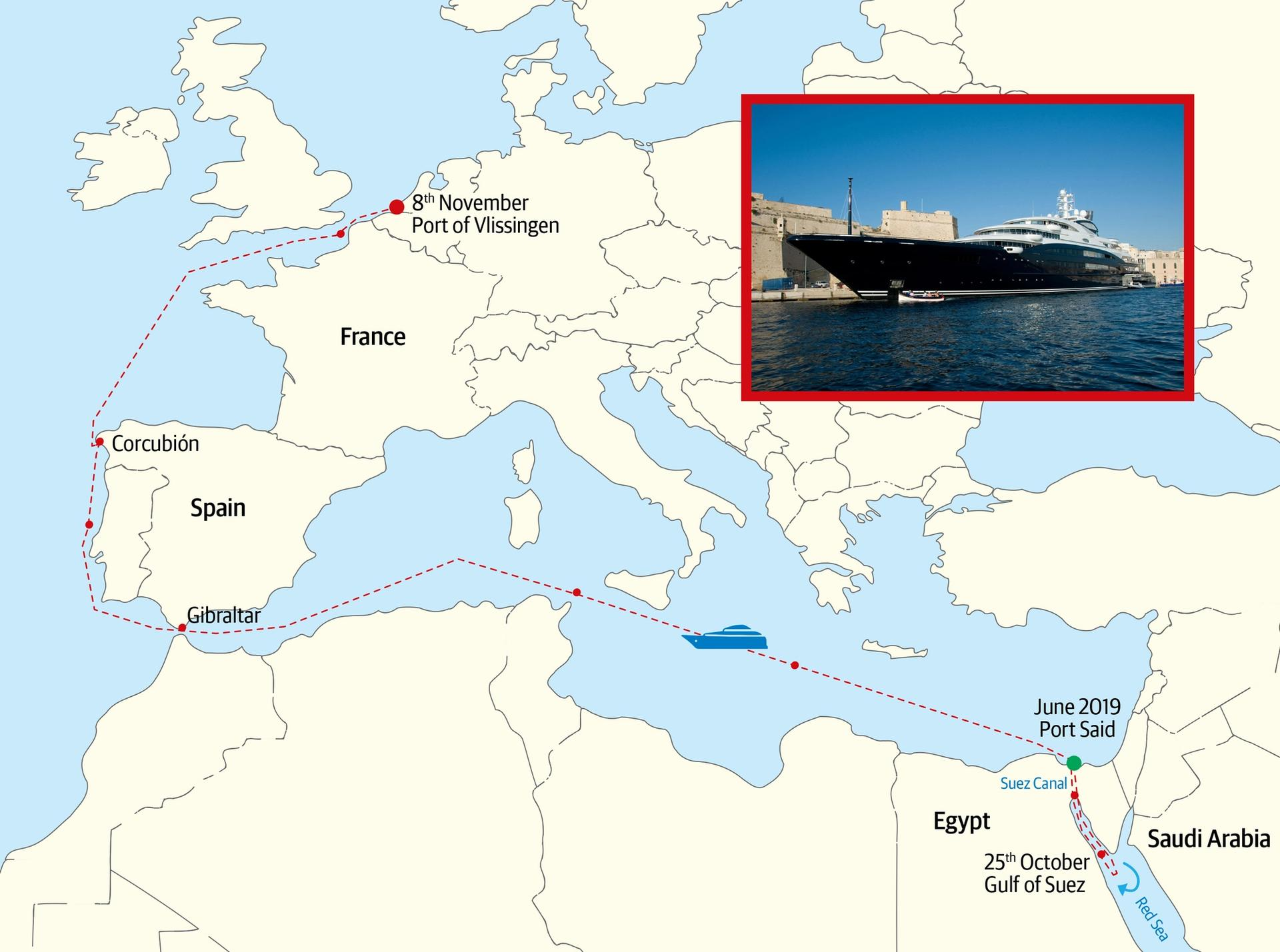 The route of the Serene, the  yacht owned by the Saudi Arabian Crown Prince Mohammad bin Salman © Route data from marinetraffic.com; yacht: Nick Wells; map: Vectorfree maps; illustration © The Art Newspaper