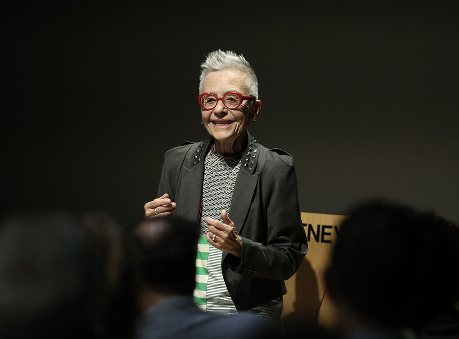 Barbara Hammer at her lecture-performance The Art of Dying or (Palliative Art Making in an Age of Anxiety) at the Whitney Museum Photo: Paula Court