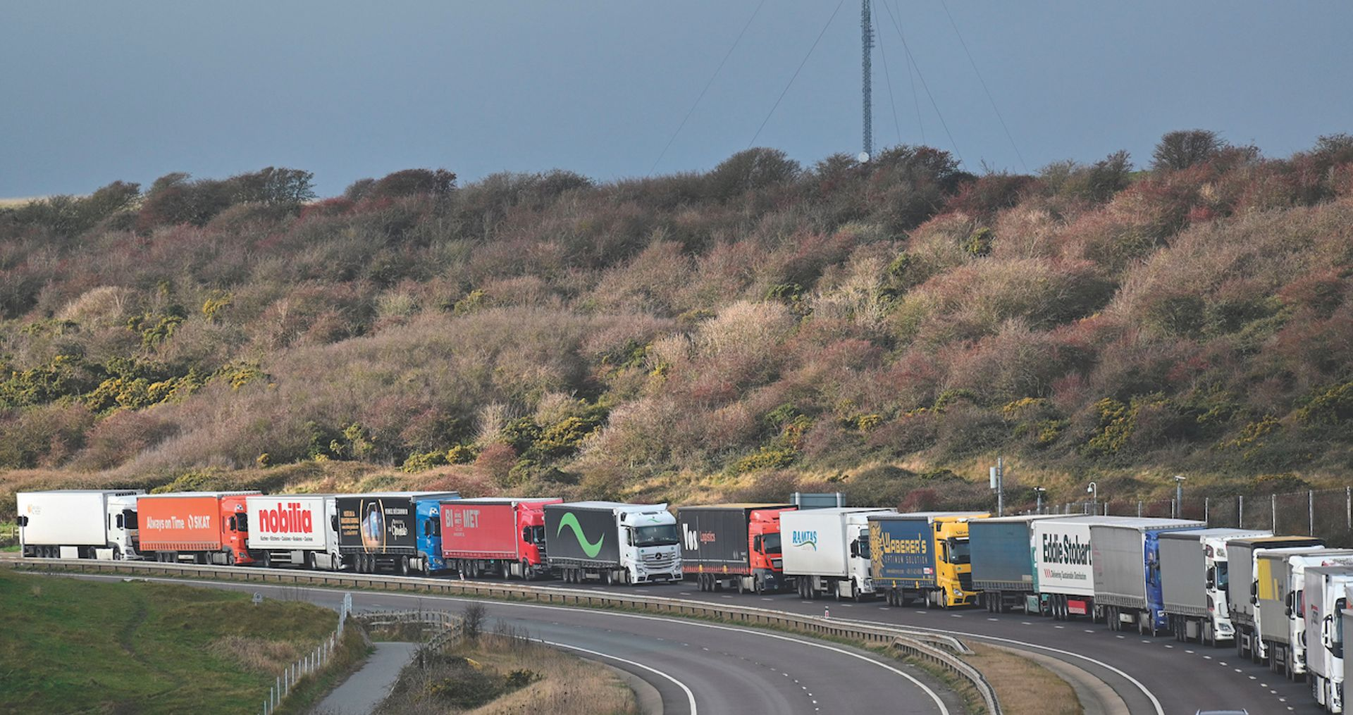 Regular—and very long—lorry queues at the port of Dover are inevitable in the next few months, as drivers will have to deal with new paperwork when transporting works to Europe Justin Tallis/AFP via Getty Images