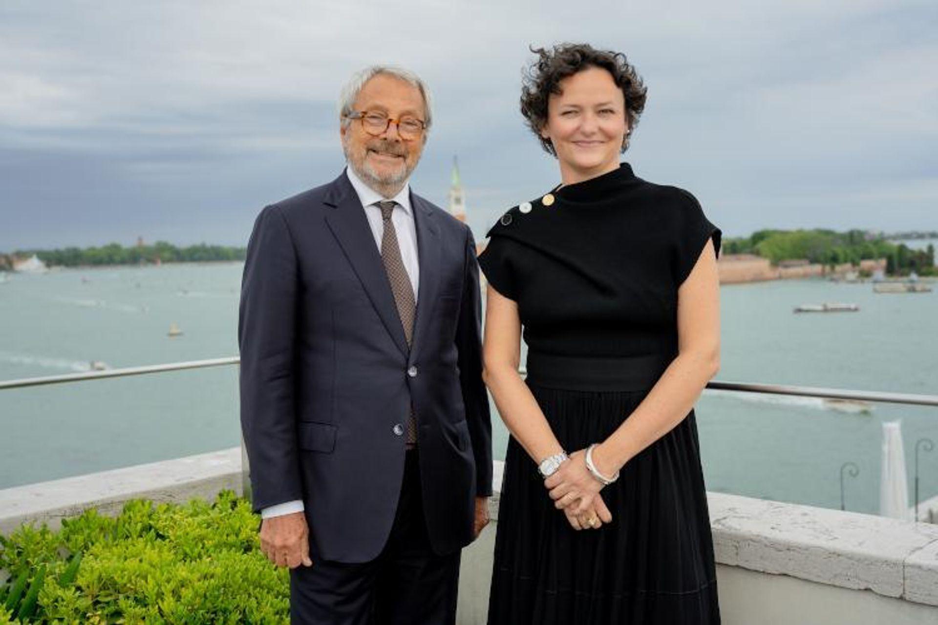 President of La Biennale di Venezia, Roberto Cicutto, and the curator of the 59th International Art Exhibition, Cecilia Alemani Courtesy of La Biennale di Venezia