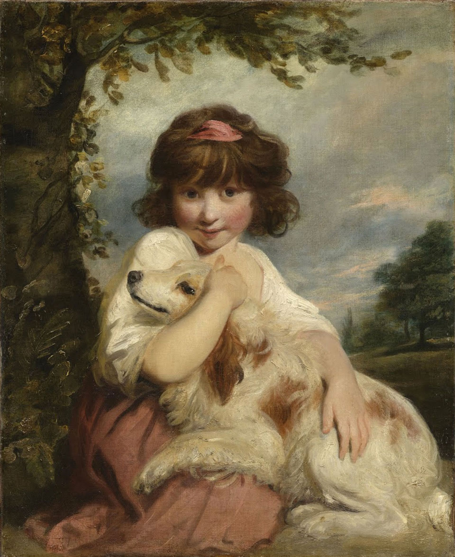 """Art Recovery International alleges that Joshua Reynolds's the """"Portrait of Miss Mathew, later Lady Elizabeth Mathew, sitting with her dog before a landscape"""" was stolen from the home of Sir Henry and Lady Price in Newick, East Sussex, in 1984 Courtesy of Art Recovery International"""