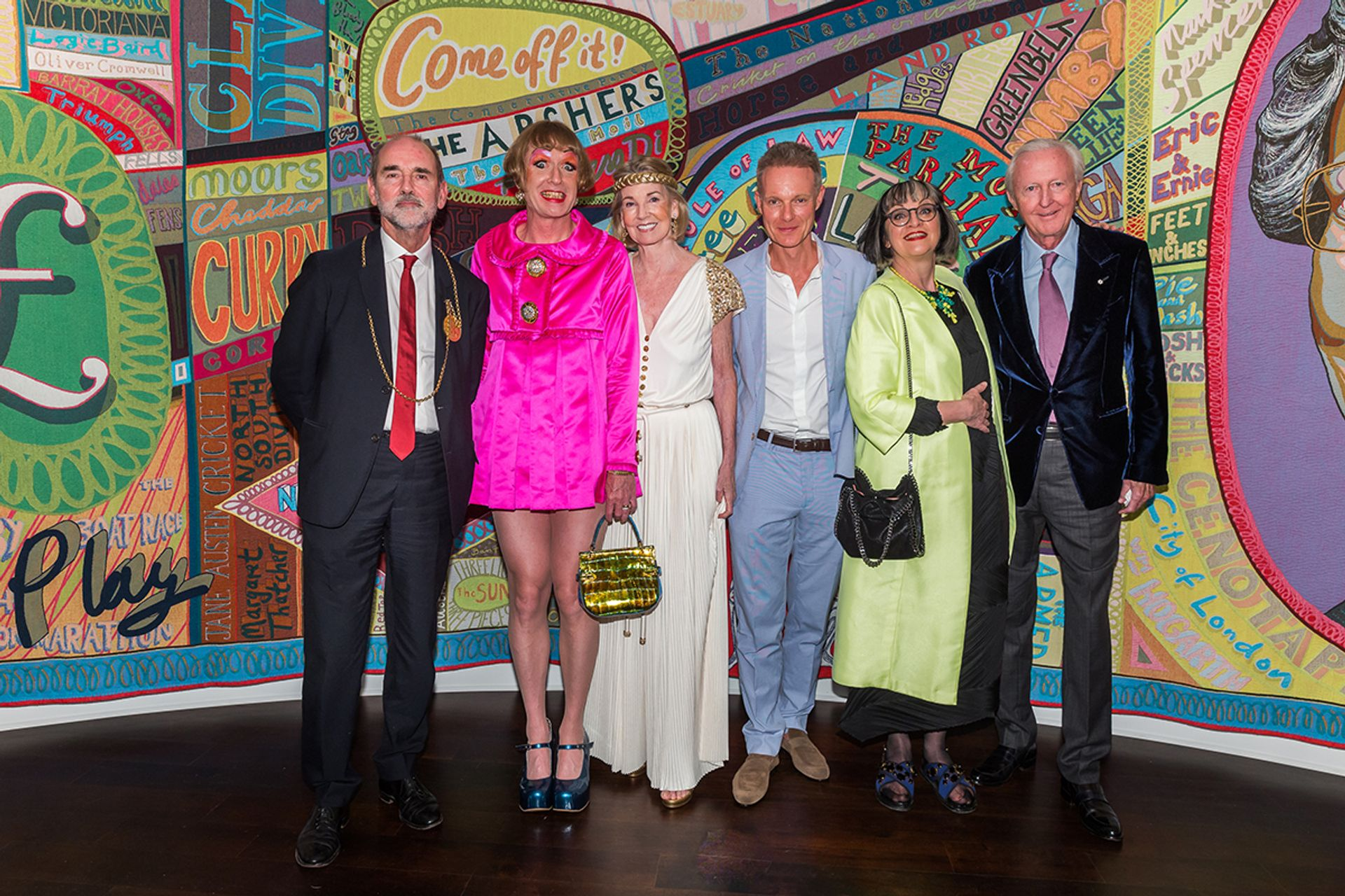 Christopher Le Brun, Grayson Perry, Hilary Weston, Tim Marlow, Philippa Perry and Galen Weston in front of Perry's Comfort Blanket (2014) Courtesy: Windsor; Photo: Scott Rudd (2018)