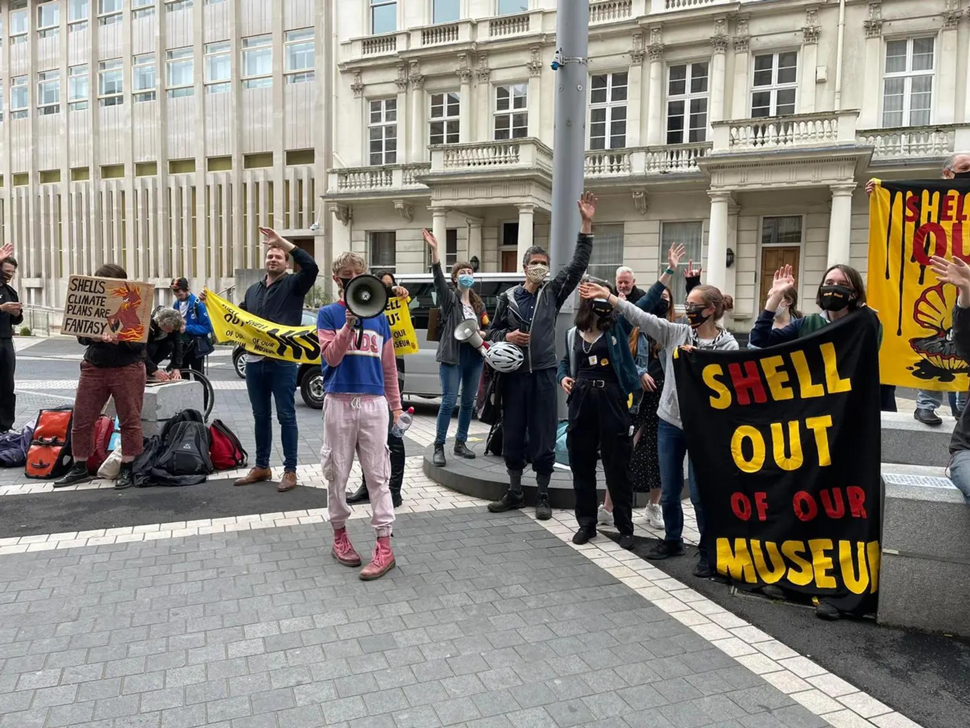 Protestors outside the Science Museum in June © Gareth Harris