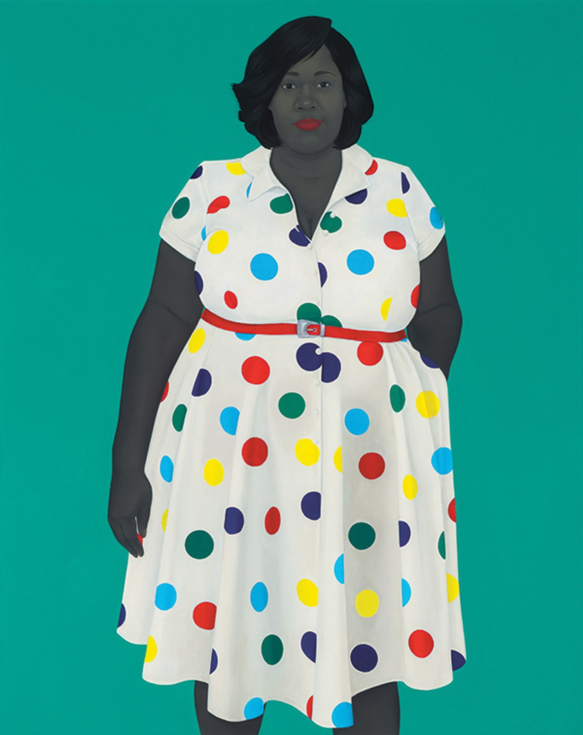 The Girl Next Door (2019) is among Sherald's series of large canvases © Amy Sherald Courtesy the artist and Hauser & Wirth Photo: Joseph Hyde