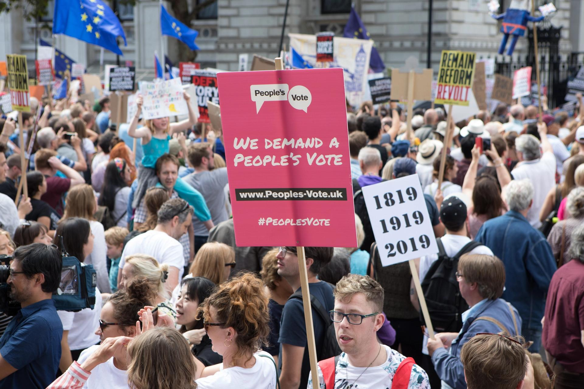 Protestors in London on 31 August at a march against UK prime minister Boris Johnson's decision to suspend parliament Photo: David Owens