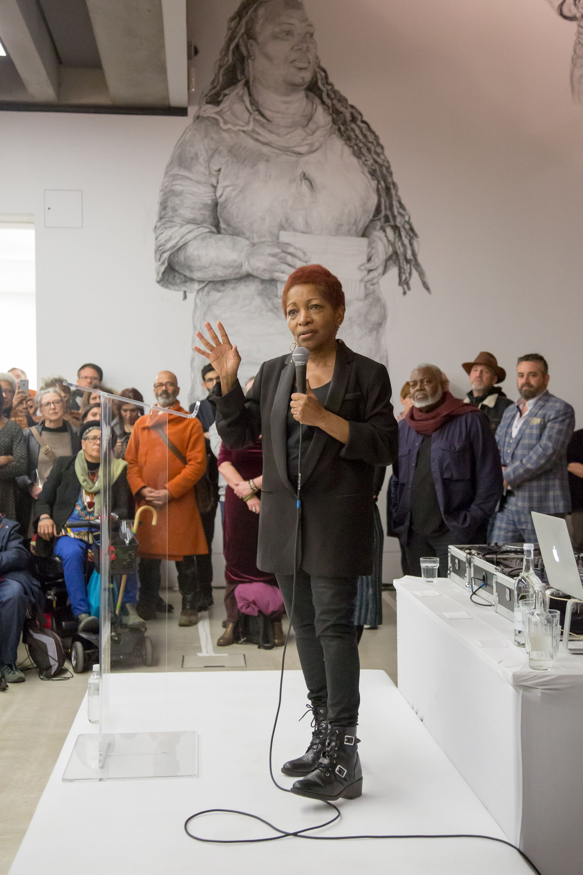 The playwright, novelist and critic Bonnie Greer gave an impassioned opening speech at the We Will Walk show Photo: Manu Palomeque