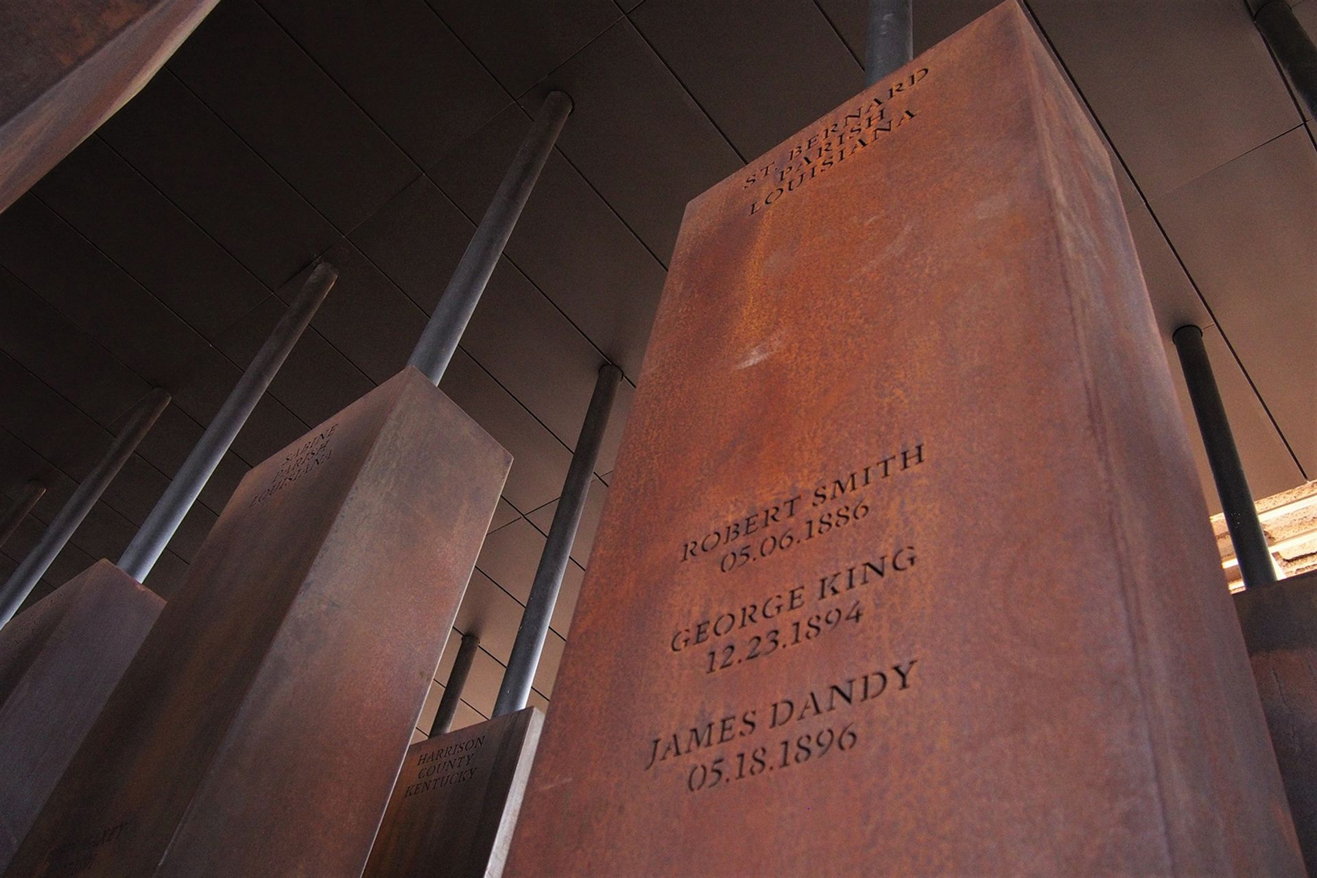 One of the monuments to lynching victims in the National Memorial for Peace and Justice Equal Justice Initiative