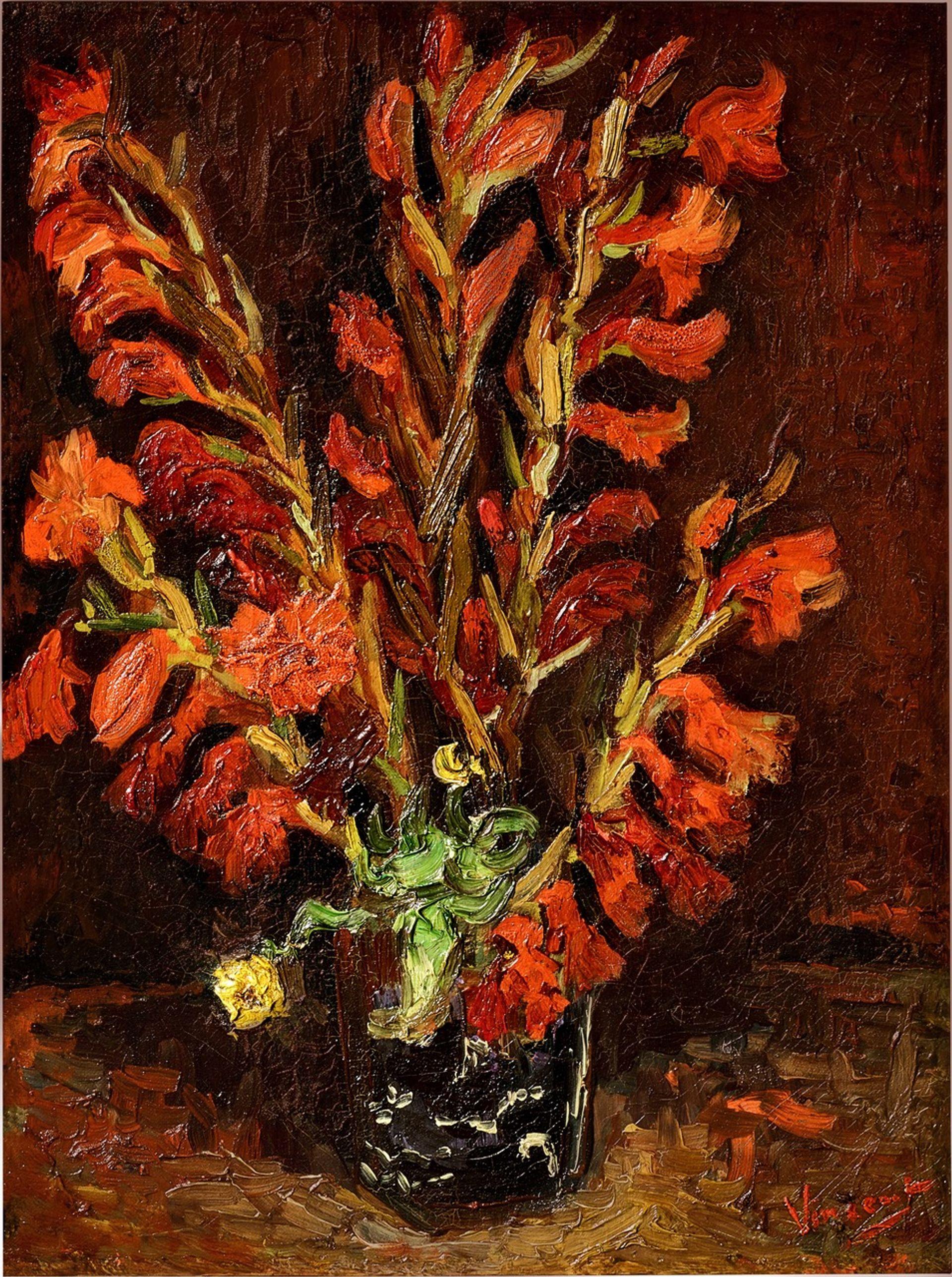 Van Gogh's Nature Morte: Vase aux Glaïeuls (Still life: Vase with Gladioli) (August-September 1886) Courtesy of Sotheby's
