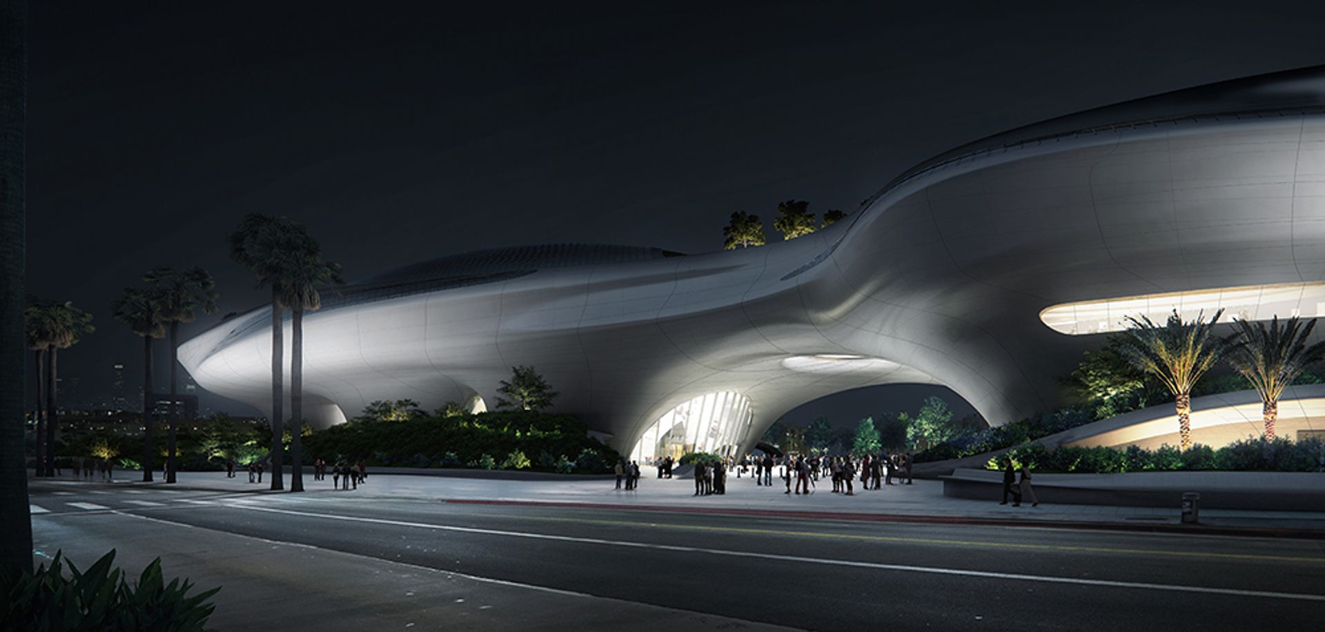 Rendering of the new Lucas Museum of Narrative Art courtesy of MAD Architects