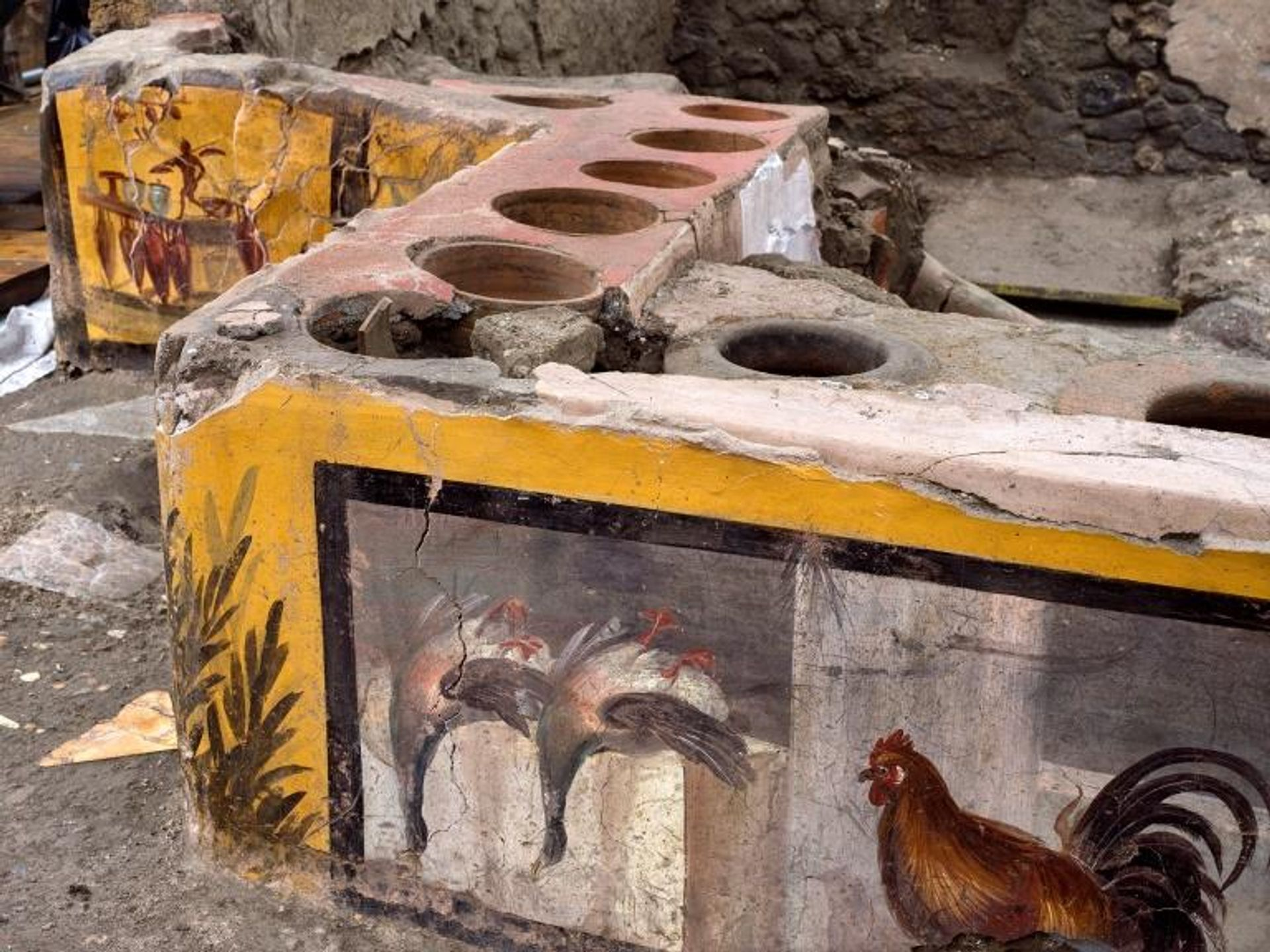 The Thermopolium of Regio V, one of the snack bars at Pompeii Courtesy of the Archaeological Park of Pompeii