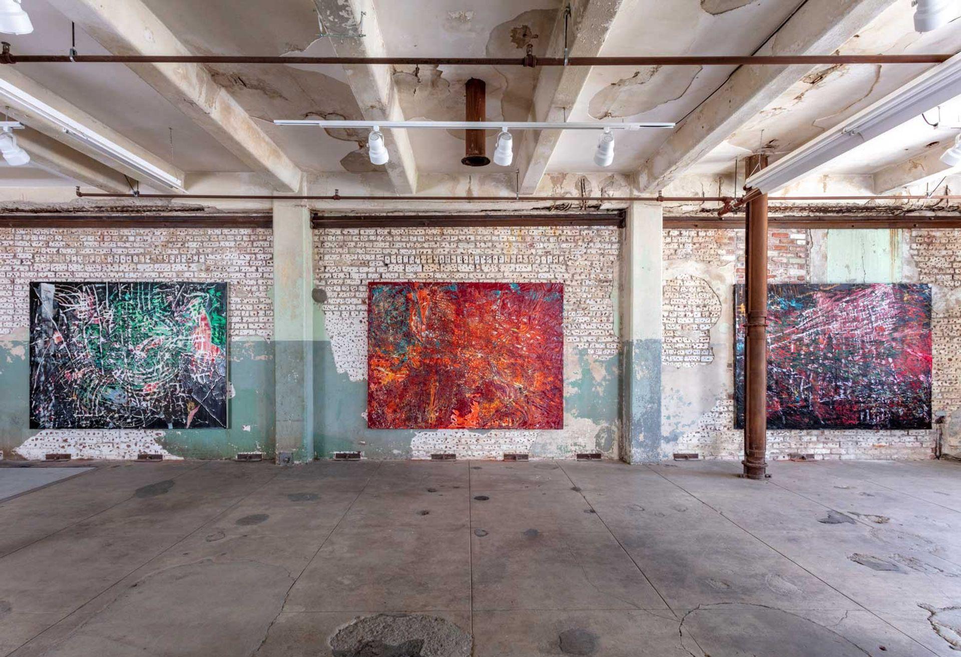 Installation view, Mark Bradford: Quarantine Paintings, Hauser & Wirth Los Angeles, 2020 © Mark Bradford Courtesy the artist and Hauser & Wirth Photo: Joshua White / JWPictures